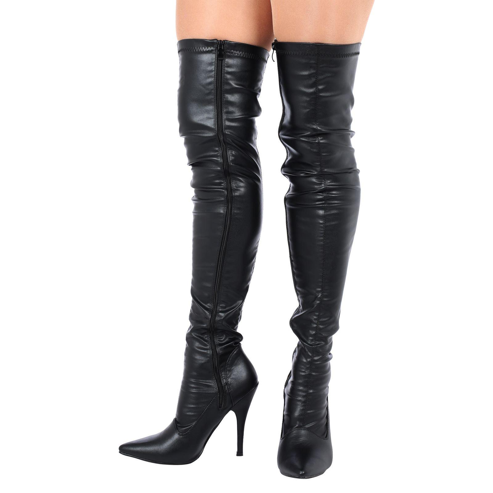 Para-mujeres-Damas-Alto-del-muslo-sobre-la-rodilla-Taco-Stiletto-Cremallera-Botas-Altas-Talla-Nuevo