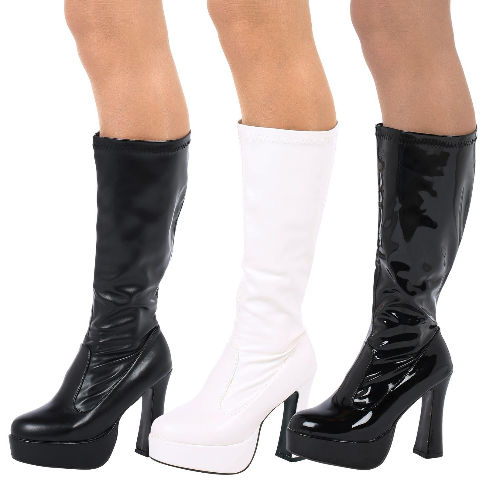 60ec67efcfe WOMENS LADIES FANCY DRESS 60s 70s PLATFORM RETRO GOGO BOOTS KNEE HIGH SHOES  NEW