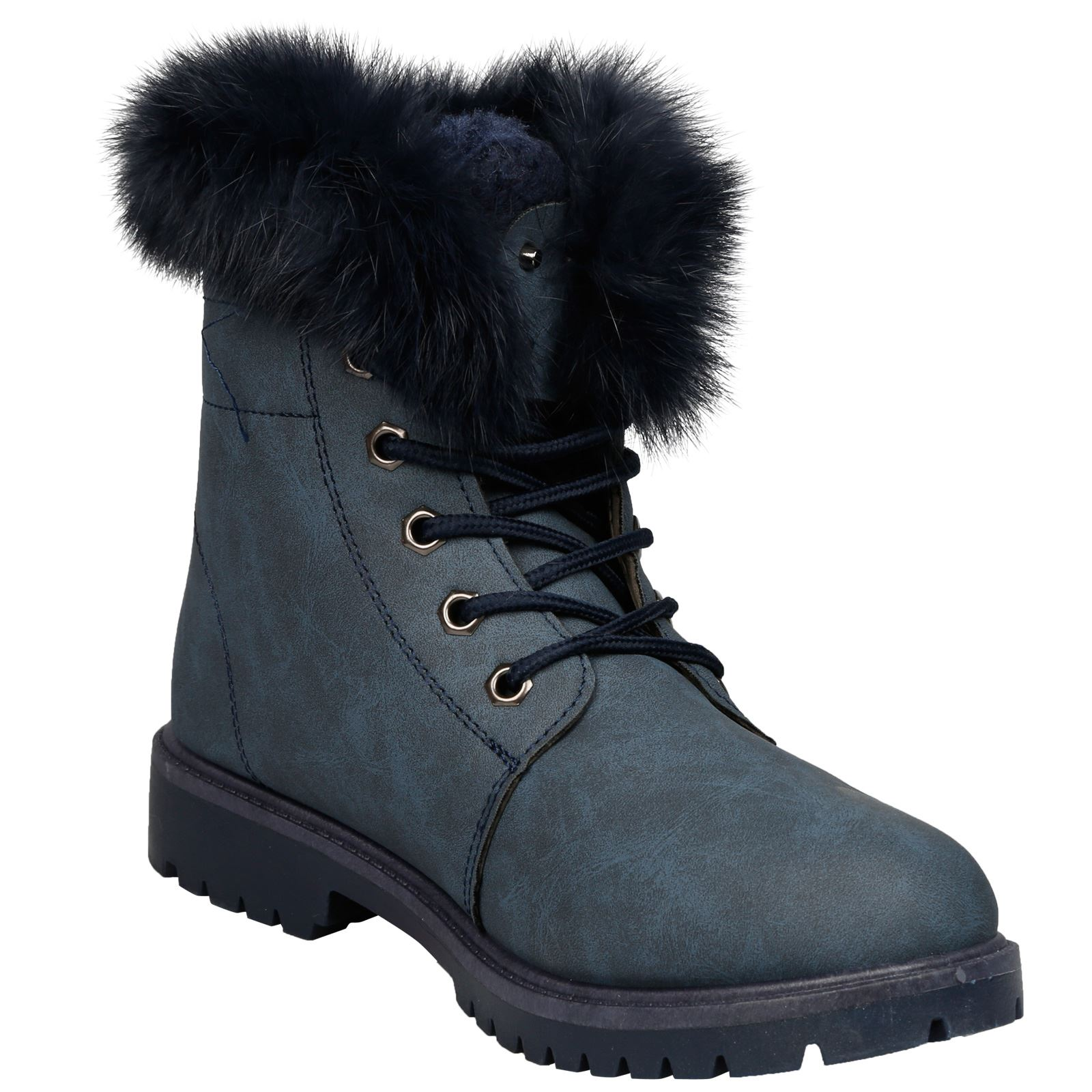 NEW-WOMEN-SHOES-LADIES-FUR-LINED-LOW-HEEL-LACE-UP-ANKLE-BOOTS-CASUAL-STYLE-SIZE thumbnail 25