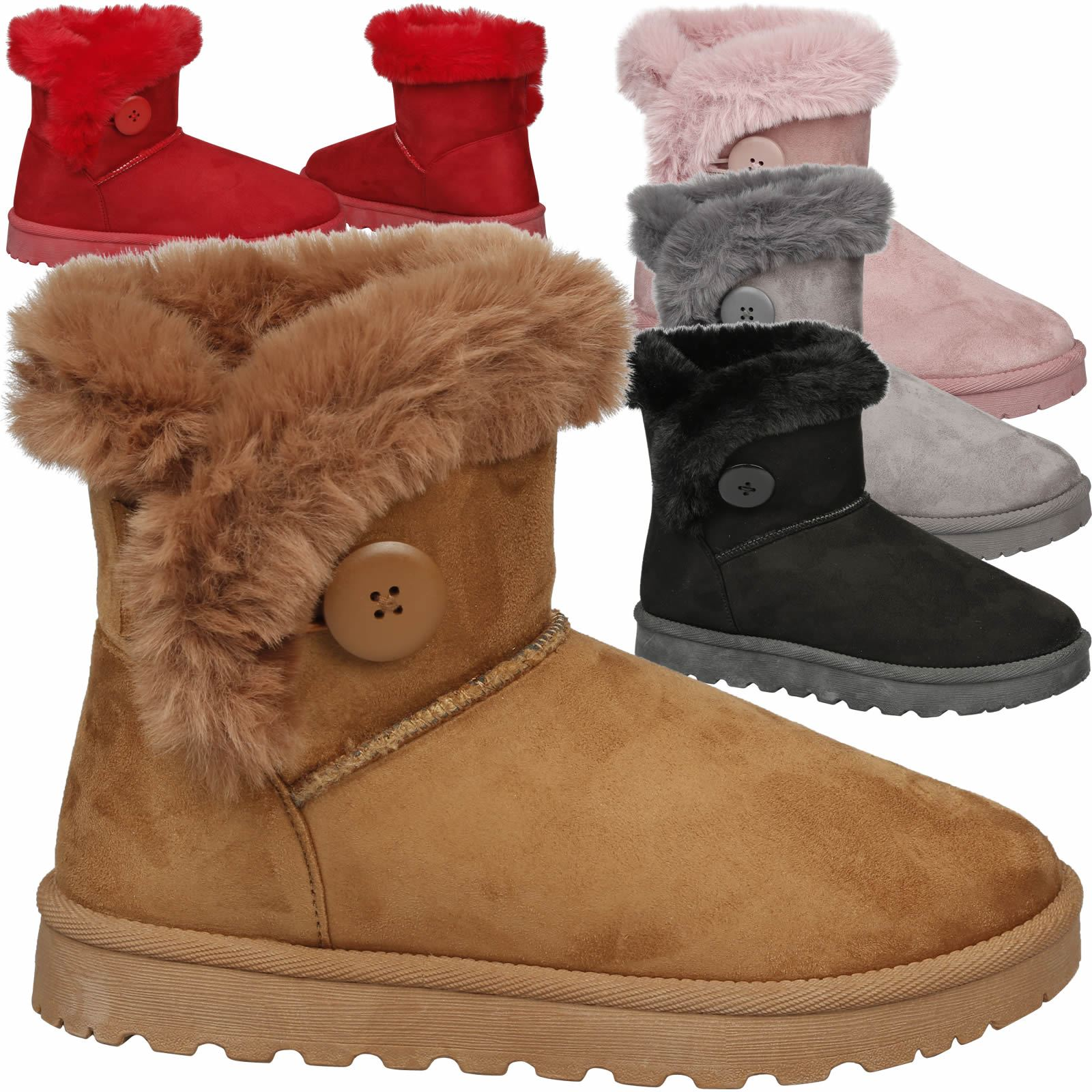 1869dd45b2d Details about Eliana Womens Flatform Fur Lined Flat Snow Ankle Boots Casual  Ladies Size Style