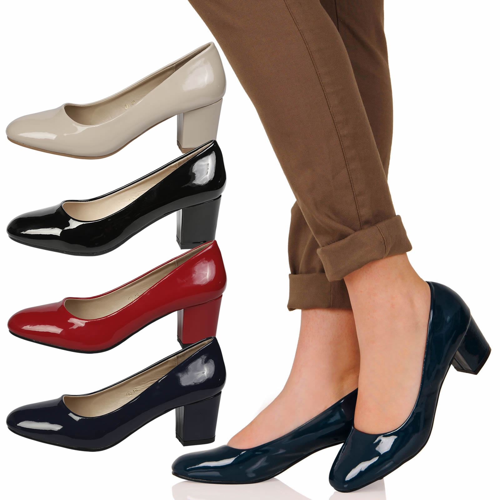 859adbc89f Details about WOMENS SHOES LADIES LOW CHUNKY BLOCK HEELS ROUND TOE COURT  OFFICE WORK NEW SIZE