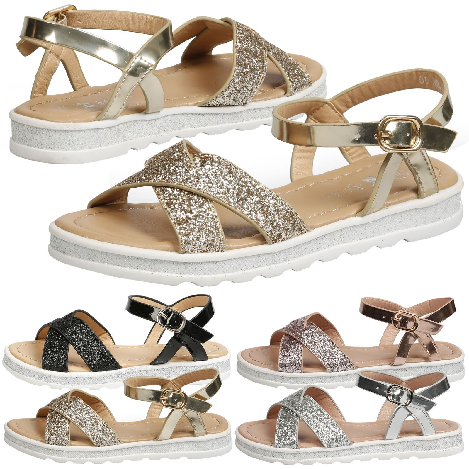 eed9c8b7f39f GIRLS CHILDRENS KIDS SANDALS SHOES LOW HEEL GLITTER CASUAL STRAPPY ...