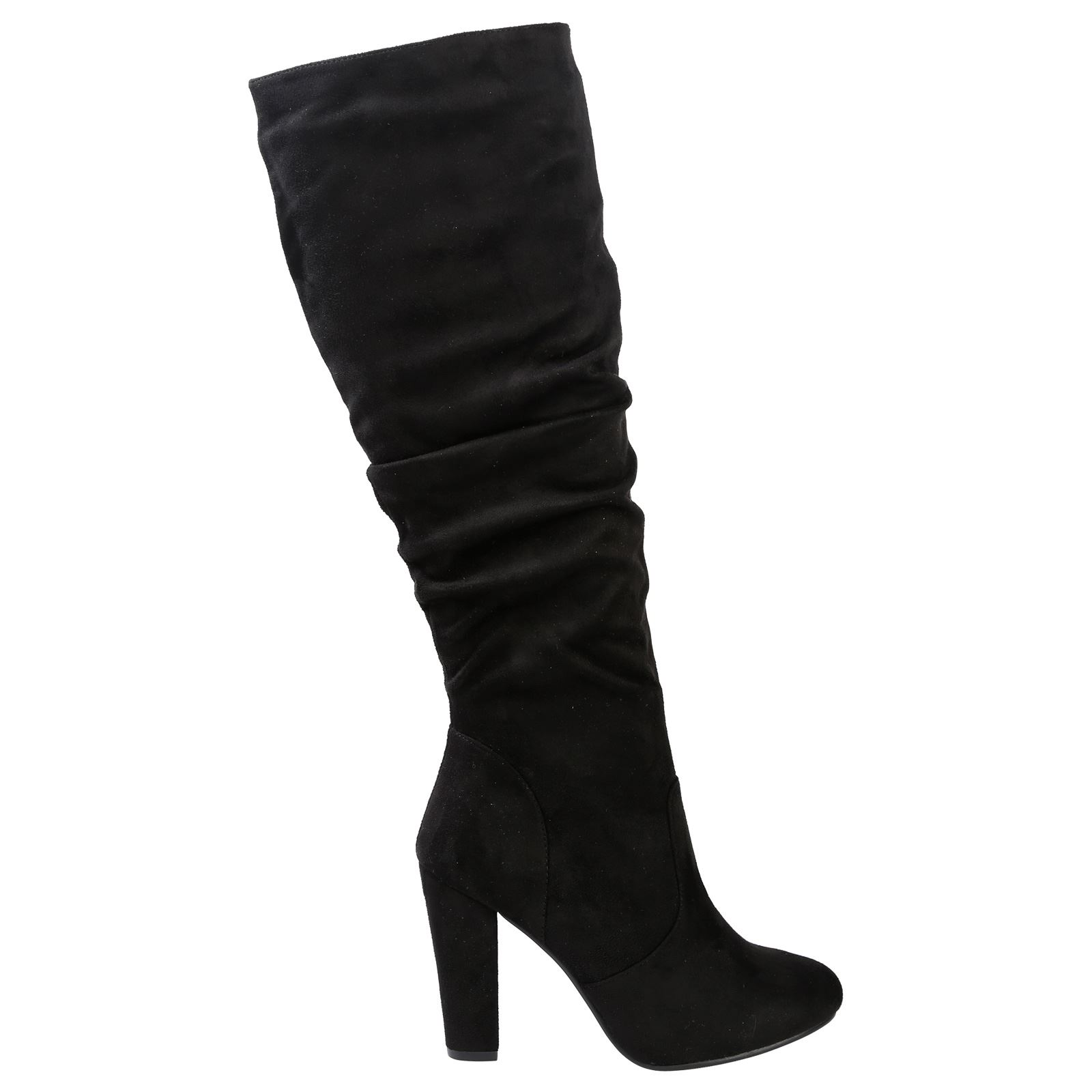 dfa2e25e38bf Melanie Womens Block Heel Under Knee High Boots Ladies Ruched Slouch ...