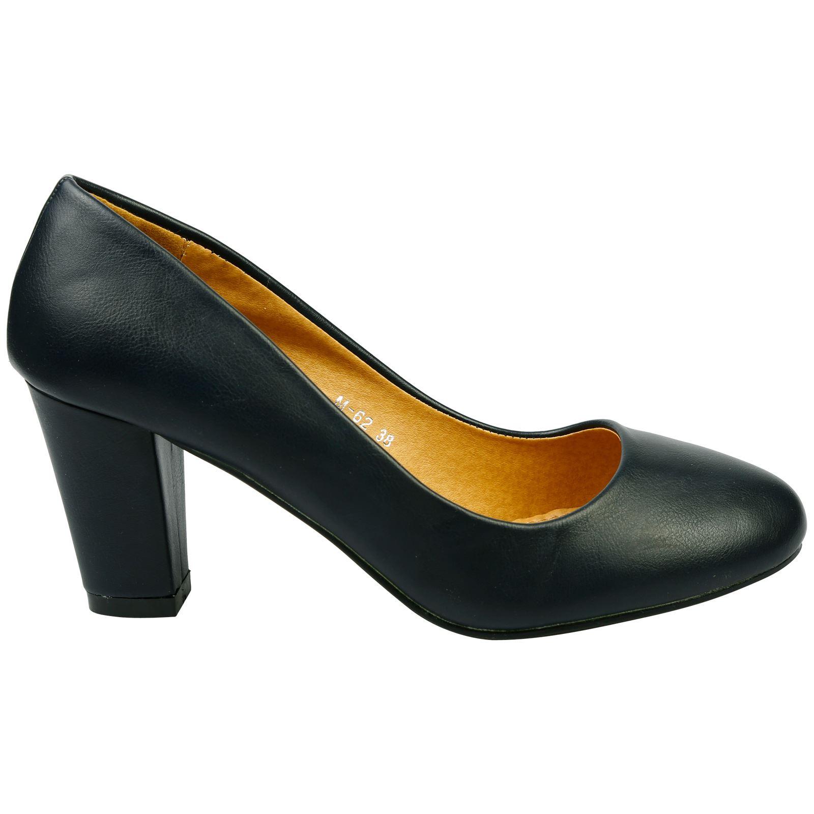 b1563e5e62 Reeva Womens Mid High Block Heels Slip On Court Shoes Ladies Pumps ...