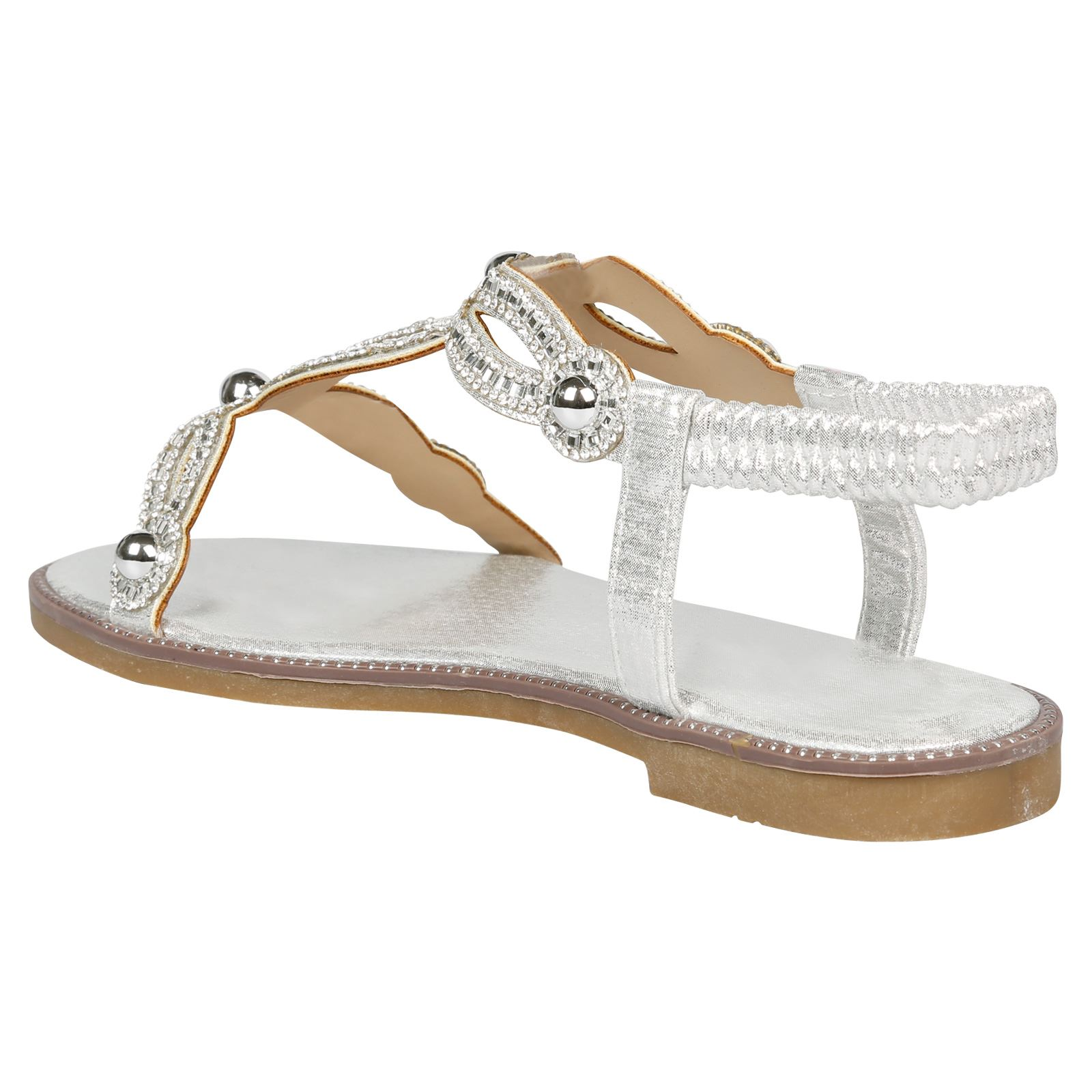 f5f53c24ddd Elle Womens Flats Peep Toe Diamante Studded Sandals Ladies Summer ...