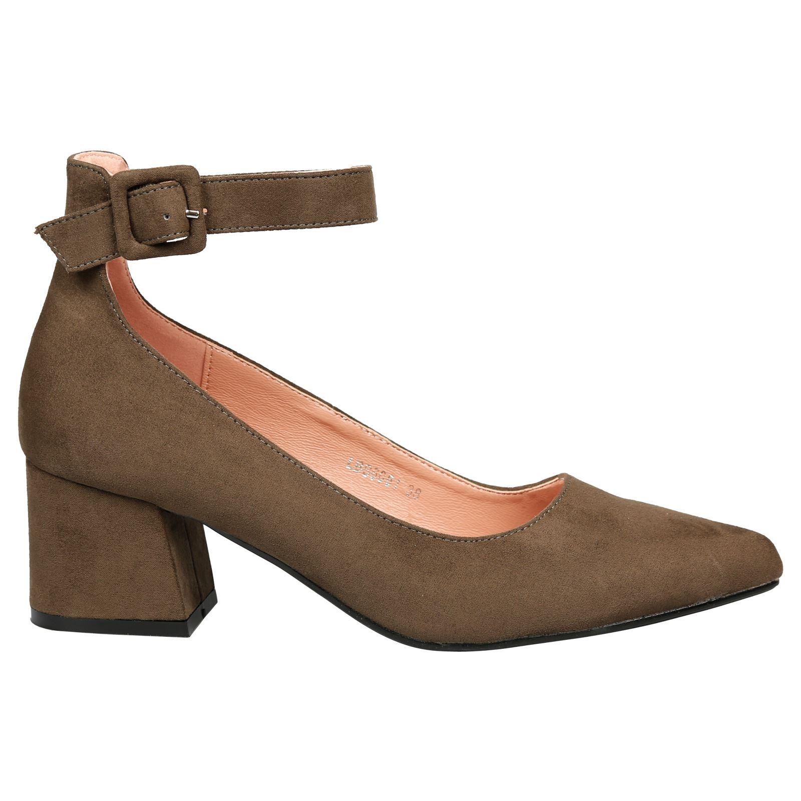 fdf570cbc49d Annalise Womens Low Mid Block Heel Ankle Strap Court Shoes Ladies ...