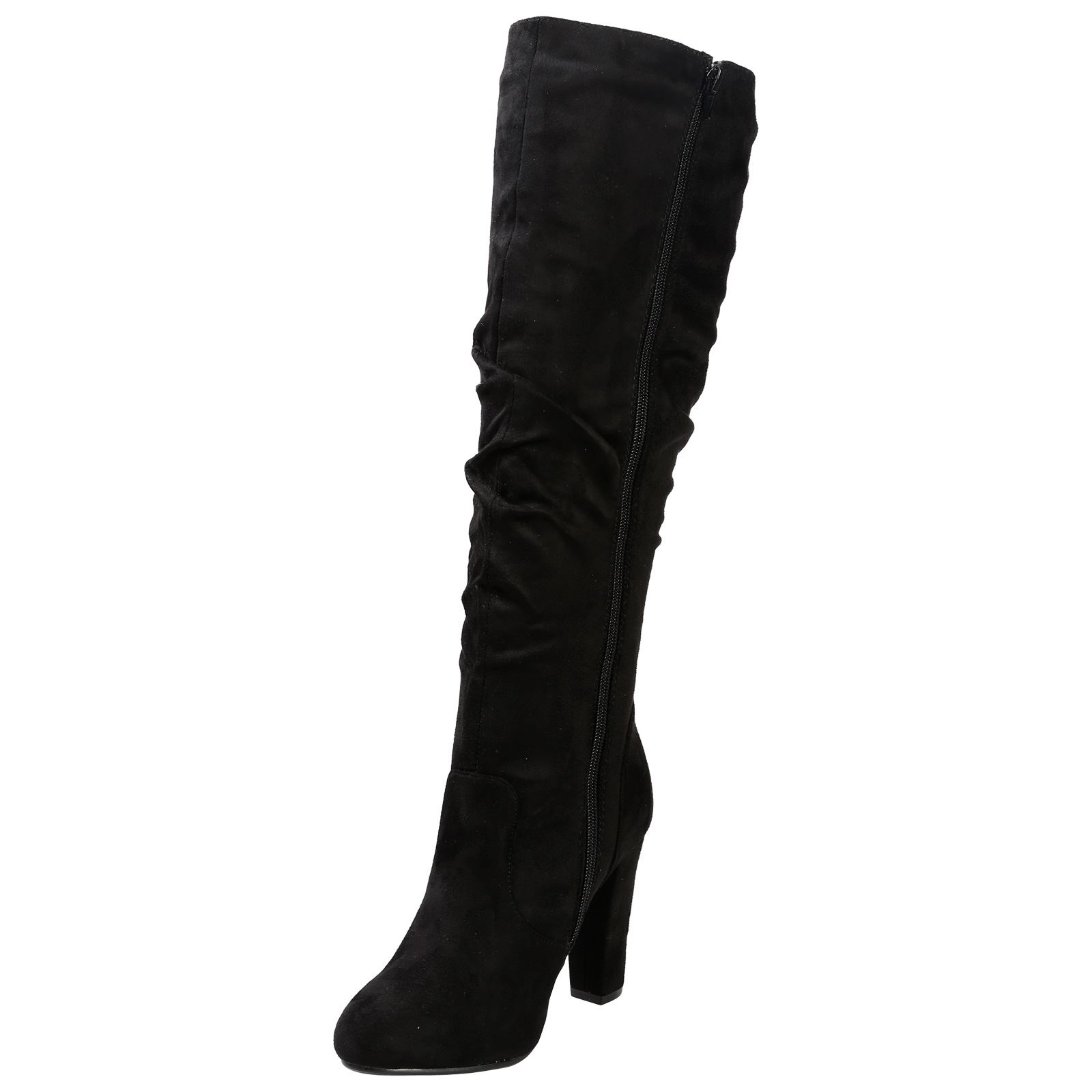 86fc41886fd Melanie Womens Block Heel Under Knee High Boots Ladies Ruched Slouch ...