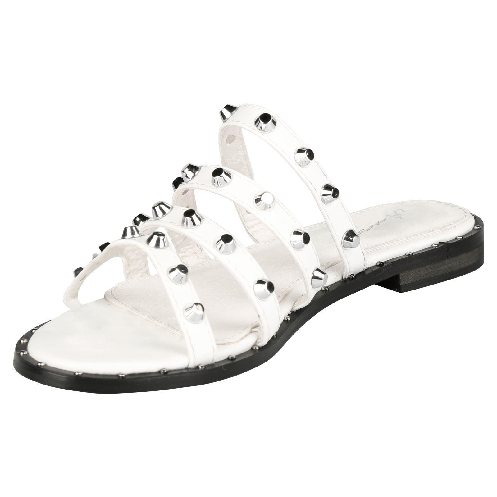 63707dd3df47 Vita Womens Flats Low Heels Slip On Studded Sandals Ladies Sliders ...