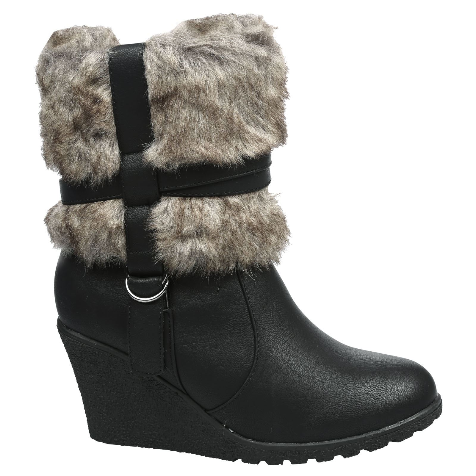 NEW Mujer WEDGE BUCKLE HEEL FUR WINTER LINING LINED ANKLE WINTER FUR botas  Talla 3-8 4ced99 8a4d8e14d5