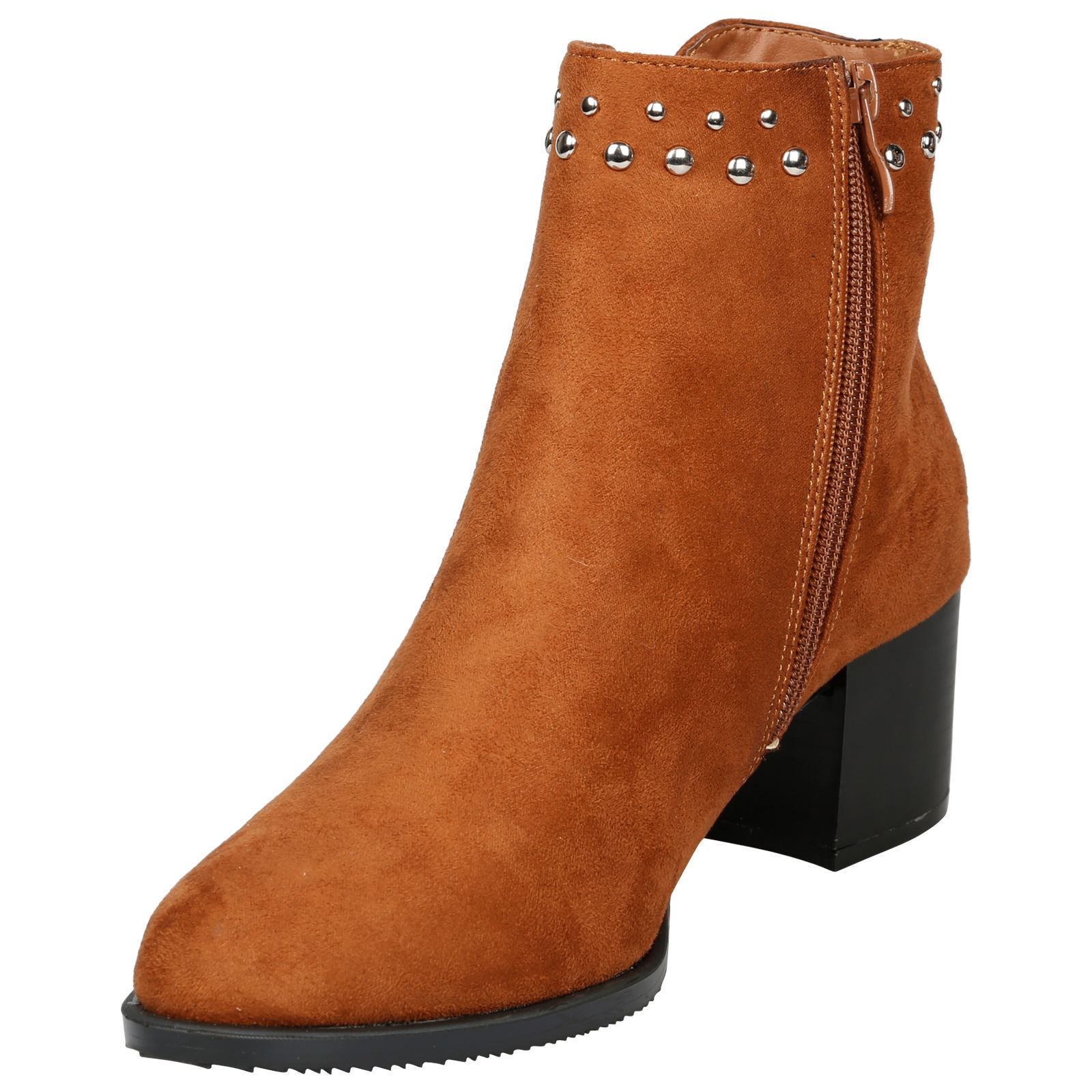 Luna-Womens-Low-Mid-Block-Heel-Studded-Chelsea-Zip-Up-Ankle-Boots-Casual-Ladies thumbnail 8