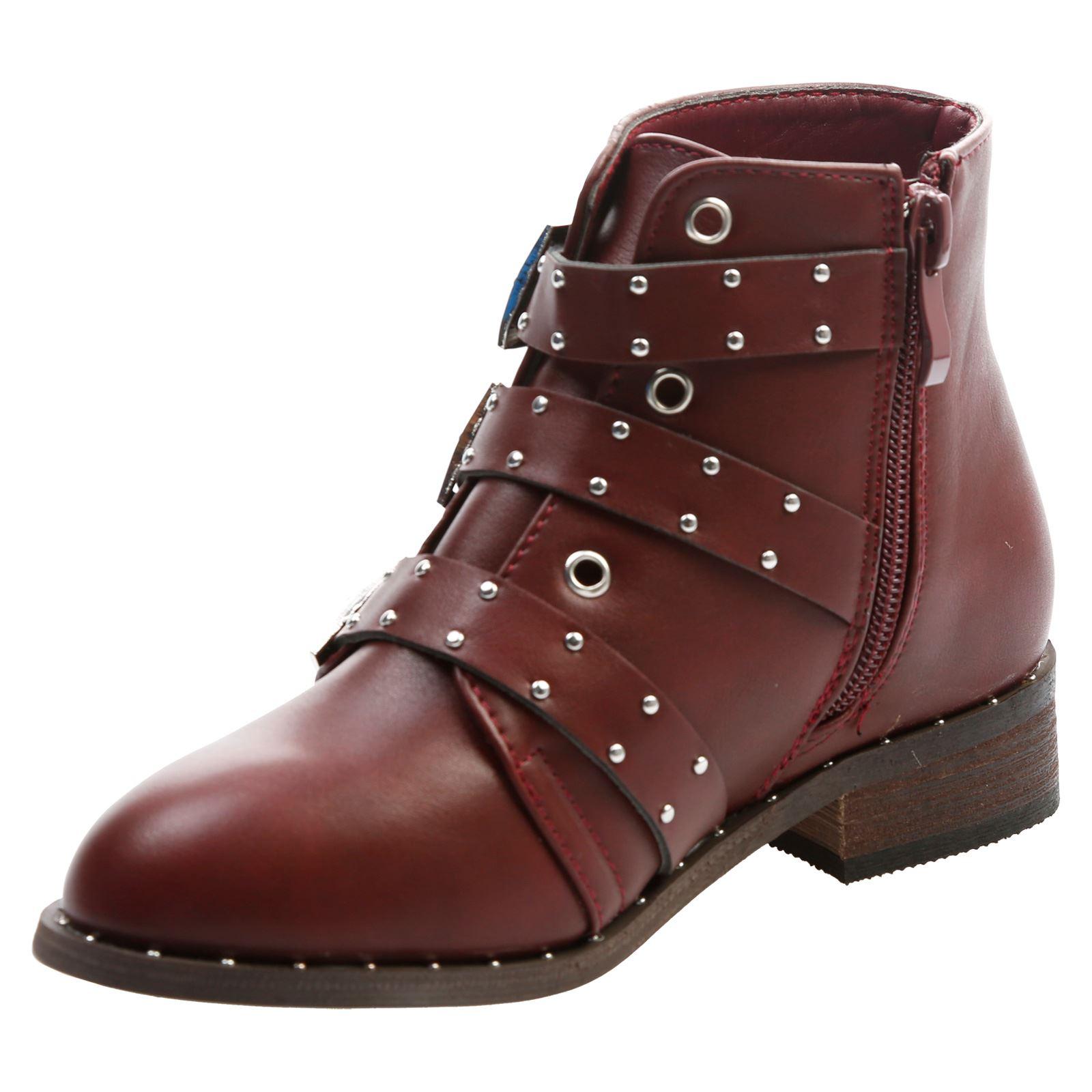 Aurelia Girls Kids Flats Low Heels Studded Buckle Biker Ankle Boots Shoes Size