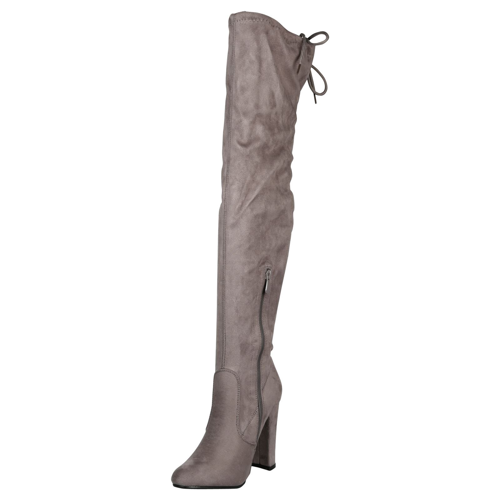 Iliana-Womens-Knee-High-Zip-Up-Adjustable-Pull-Strings-Mid-High-Block-Heel-Boots thumbnail 12