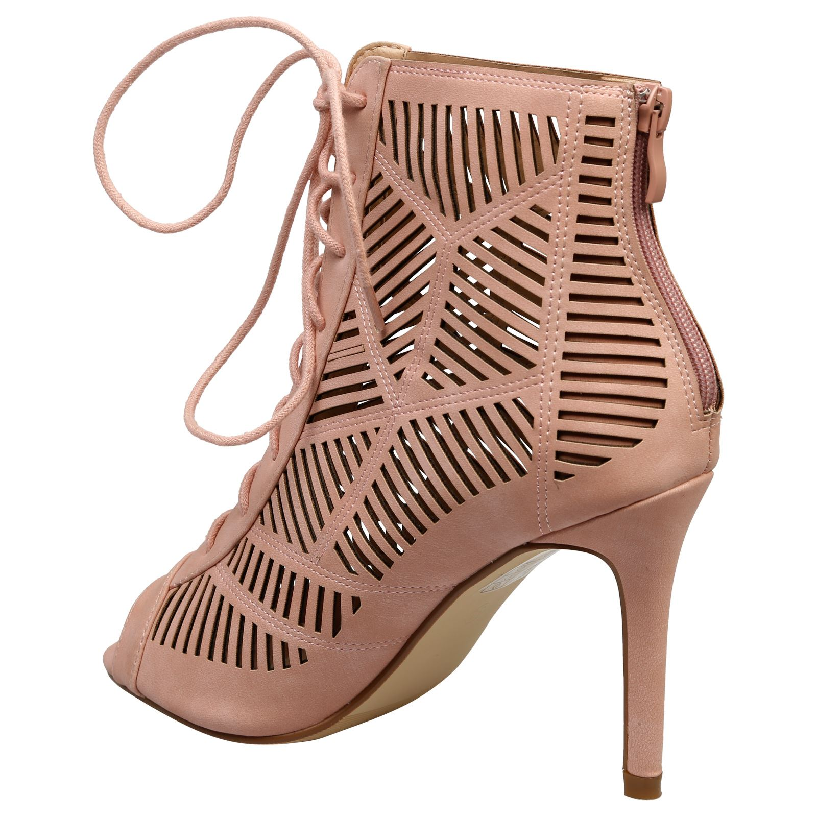 Anais-Womens-High-Heels-Stilettos-Lace-Up-Peep-Toe-Ankle-Boots-Ladies-Shoes-Size thumbnail 13
