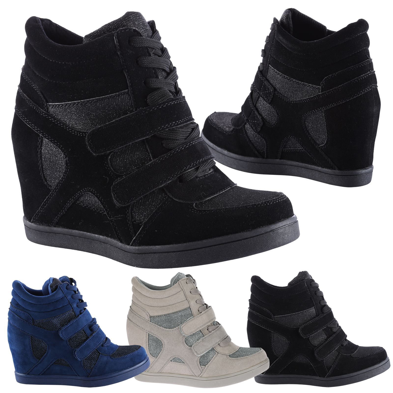 8f9064c5f4d Edie Womens Hidden Wedges Heels Ladies Glitter Shimmer Trainers Ankle Boots  Size