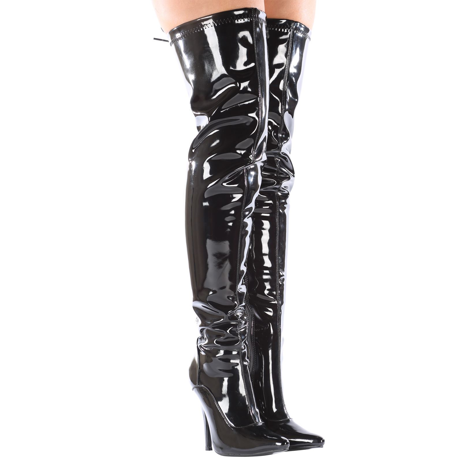 26c062ad37d Anastasia Stiletto Heels Lace Back Zip Up Ladies Sexy Thigh High ...
