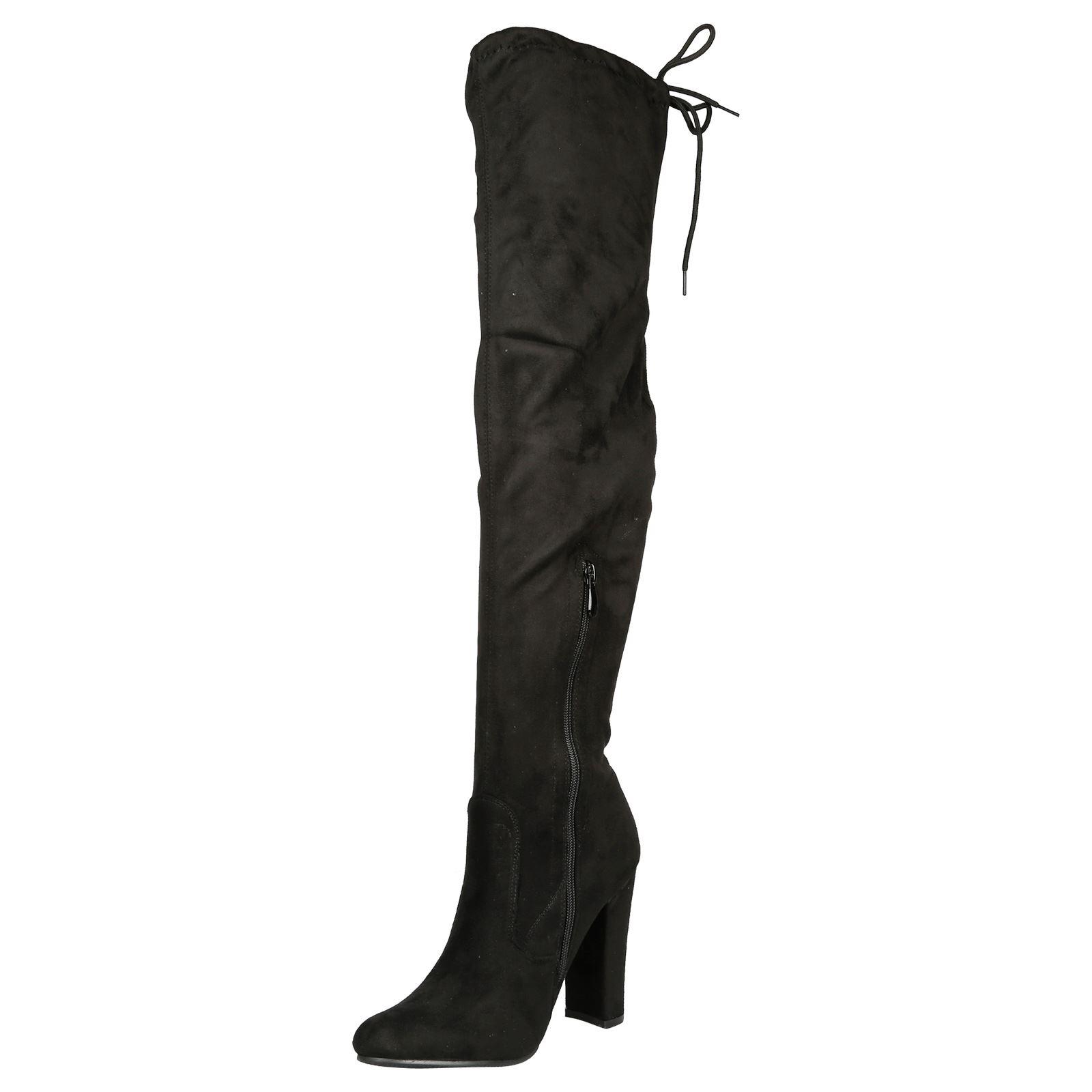 Iliana-Womens-Knee-High-Zip-Up-Adjustable-Pull-Strings-Mid-High-Block-Heel-Boots thumbnail 4