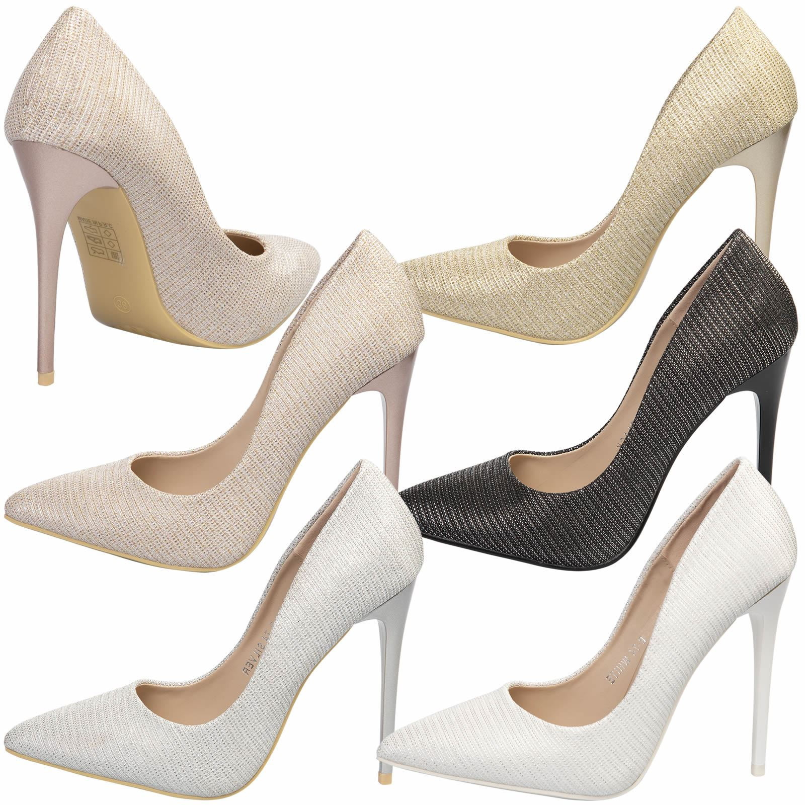 c8339ce70a33 Details about WOMENS SHOES LADIES PUMPS POINTY TOE METALLIC STILETTO PROM  PARTY BRIDAL WEDDING