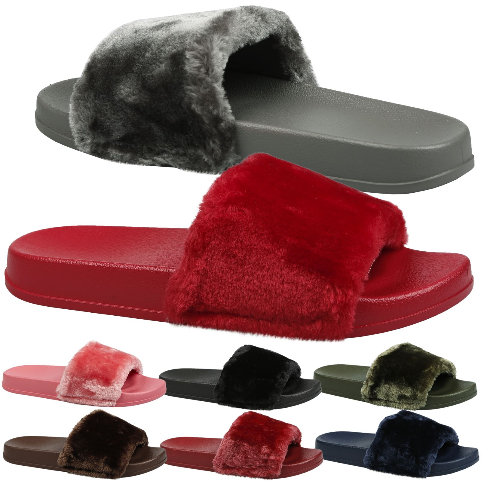 45eed206 Details about Romy Womens Slip On Fur Flats Sandals Flip Flops Ladies Shoes  Sliders Size New