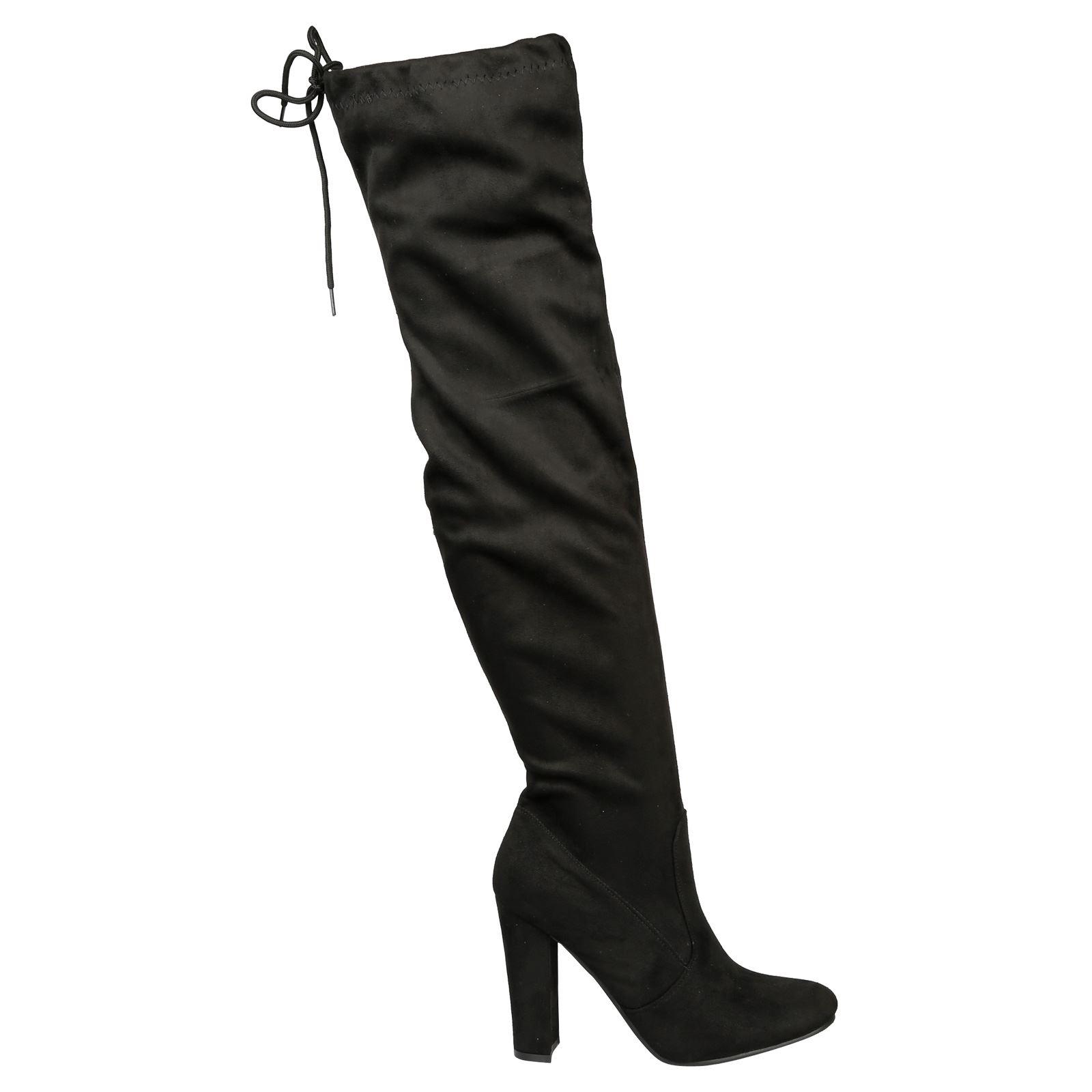 Iliana-Womens-Knee-High-Zip-Up-Adjustable-Pull-Strings-Mid-High-Block-Heel-Boots thumbnail 3