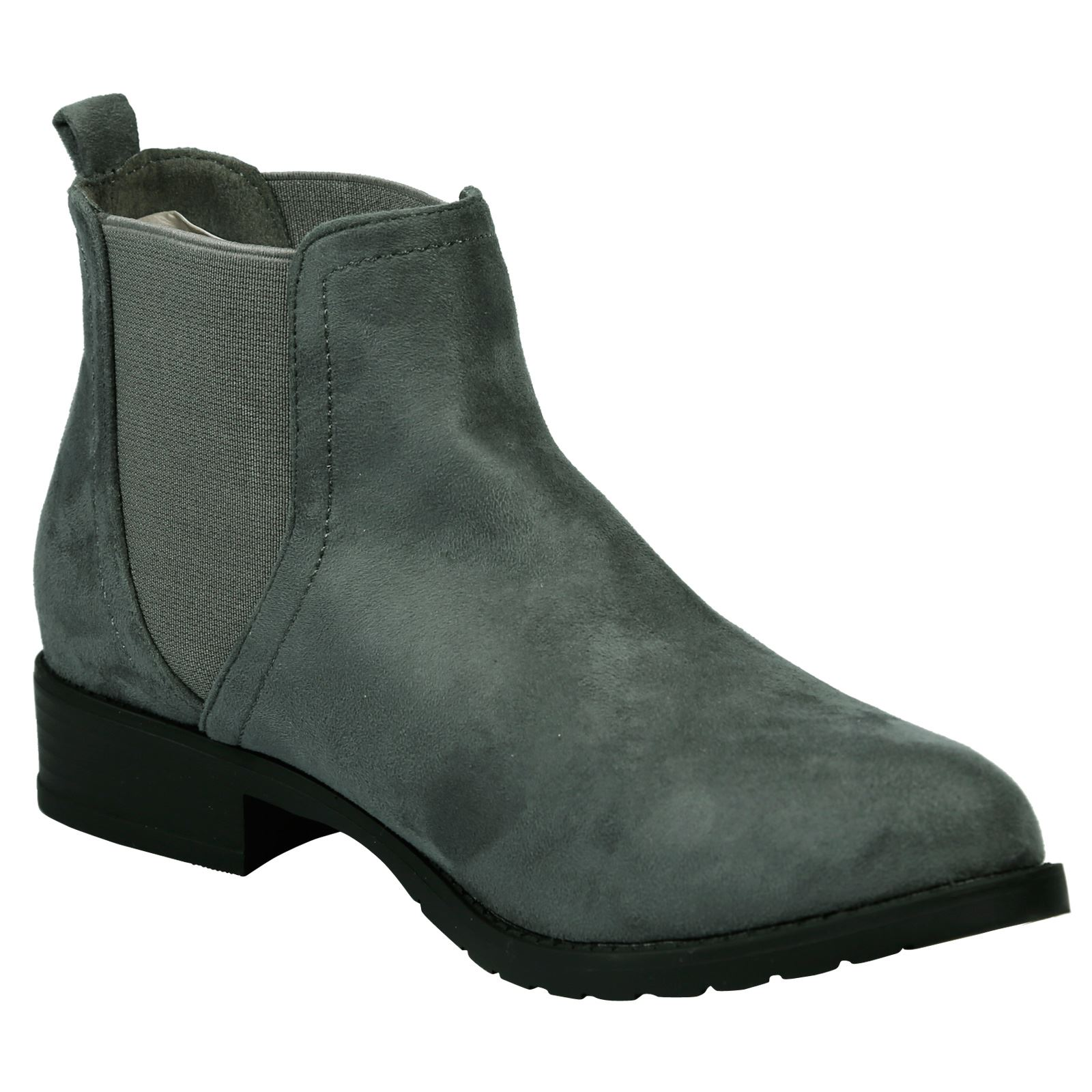 Mujer Botas al Tobillo Zapatos Planos Señoras Estilo Chelsea Casual Talla Tire de invierno