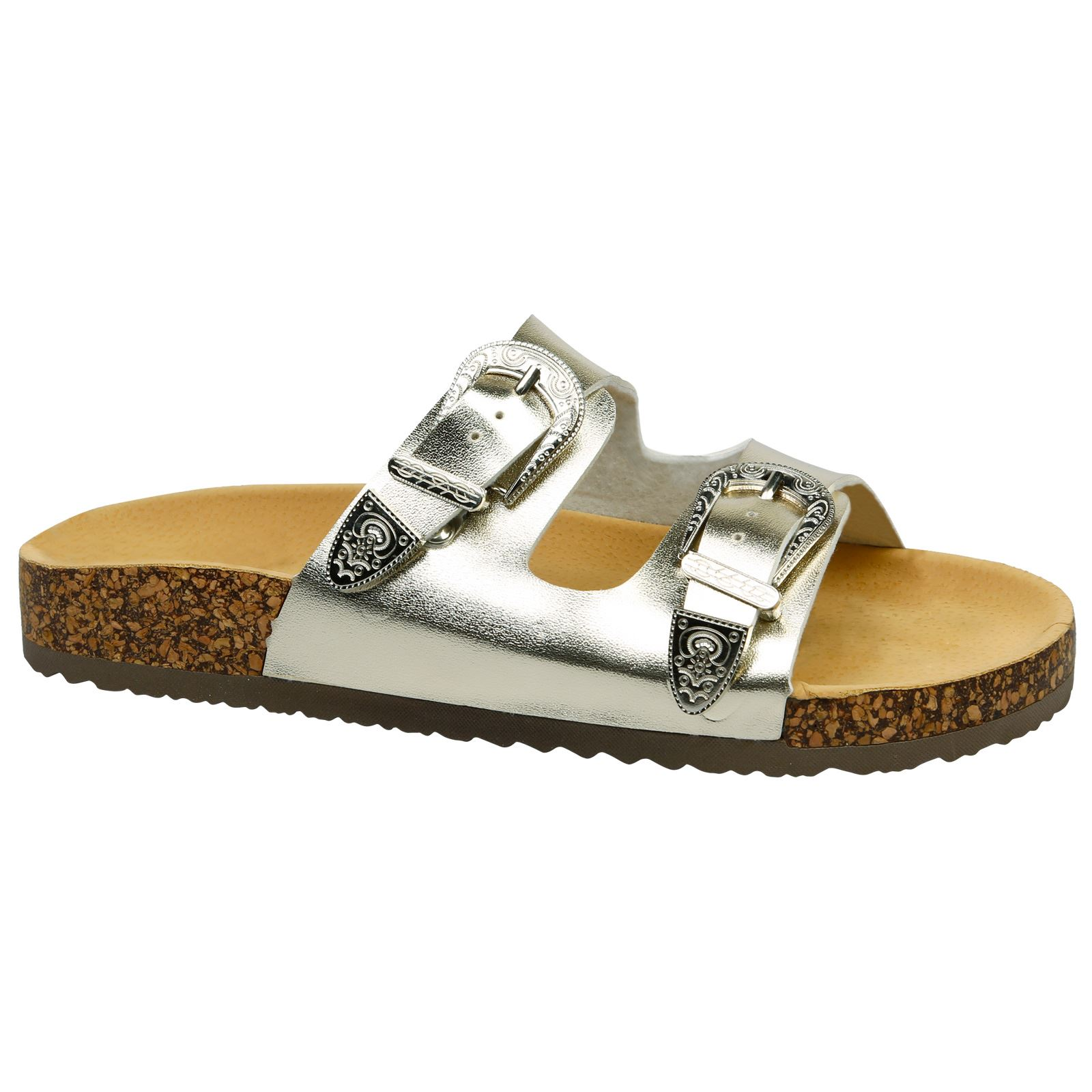 Meredith Womens Flats Low Heels Footbed Sandals Ladies