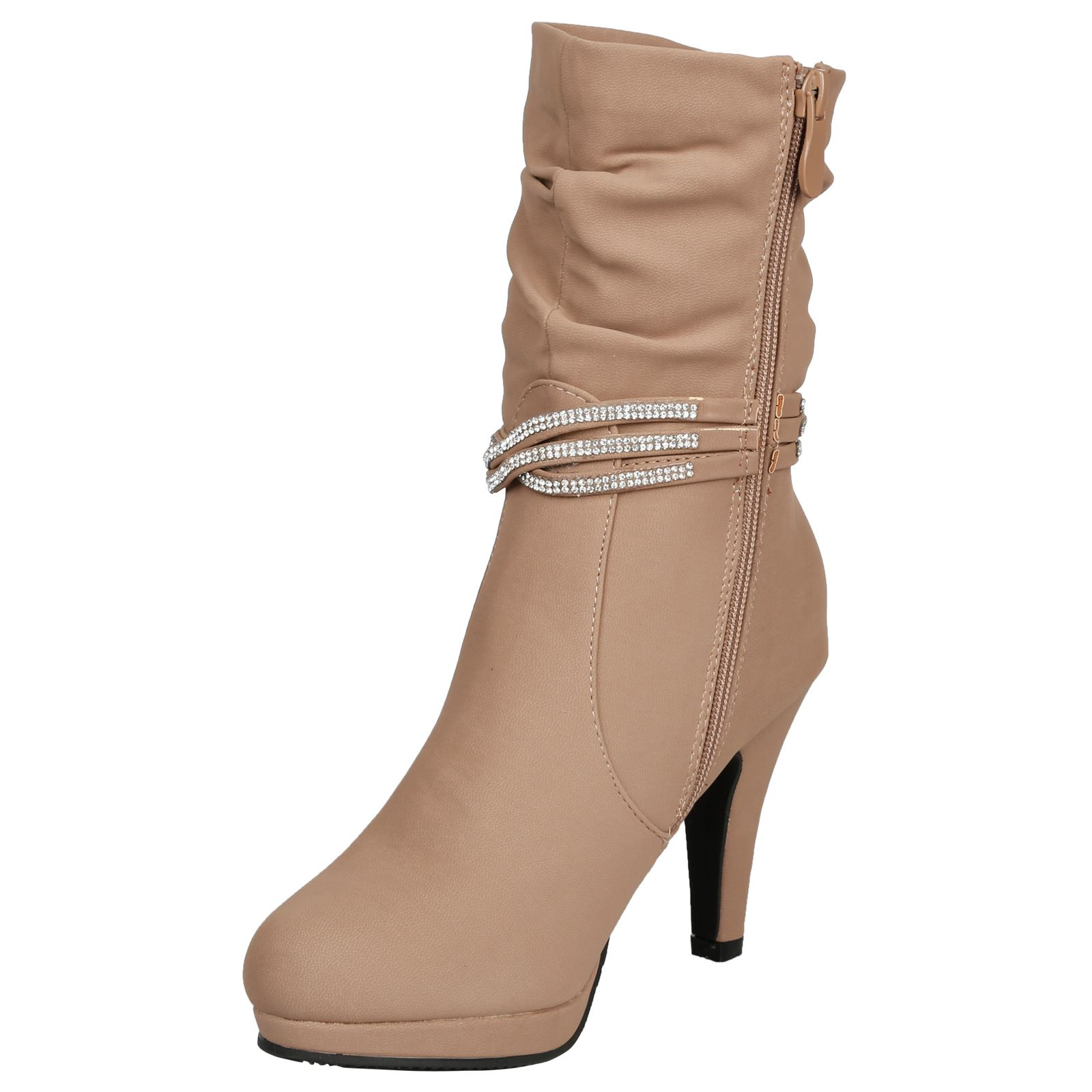 Estrella-Womens-Slim-High-Heel-Diamante-Strap-Slouch-Ankle-Boots-Casual-Style thumbnail 8