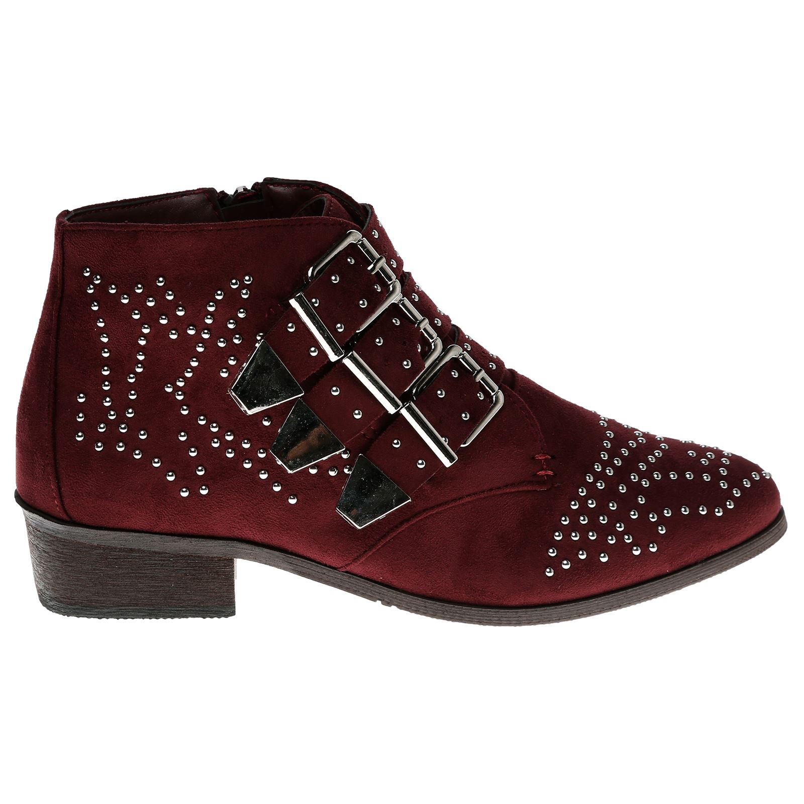 Liv-Womens-Flats-Low-Heels-Buckle-Strappy-Biker-Ankle-Boots-Ladies-Shoes-Studded thumbnail 31