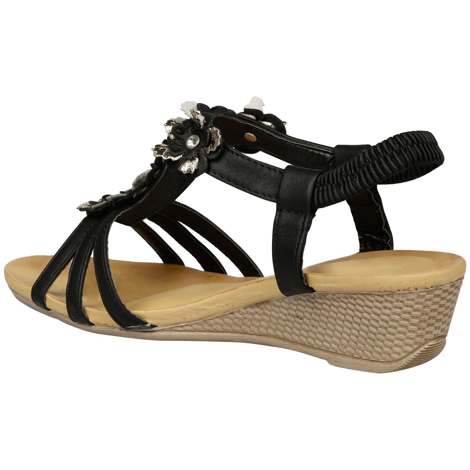 34748a42c Leilani Womens Low Wedges Heels Floral T Bar Sandals Ladies Open Toe ...