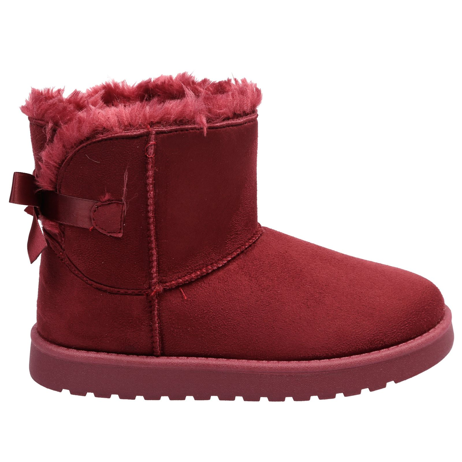 Greta Girls Kids Flats Low Heels Fur Lined Ankle Boots Childrens Ribbon Bow Size