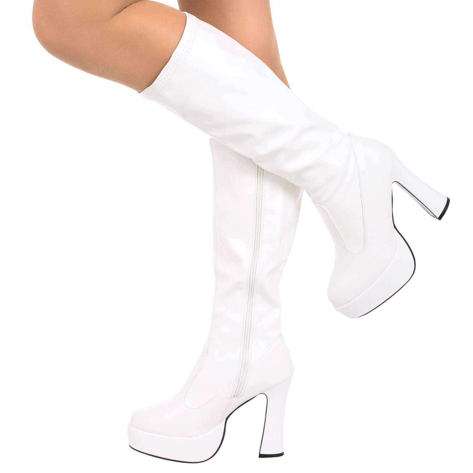 a1fa8b7d3e6 WOMENS LADIES FANCY DRESS 60s 70s PLATFORM RETRO GOGO BOOTS KNEE ...