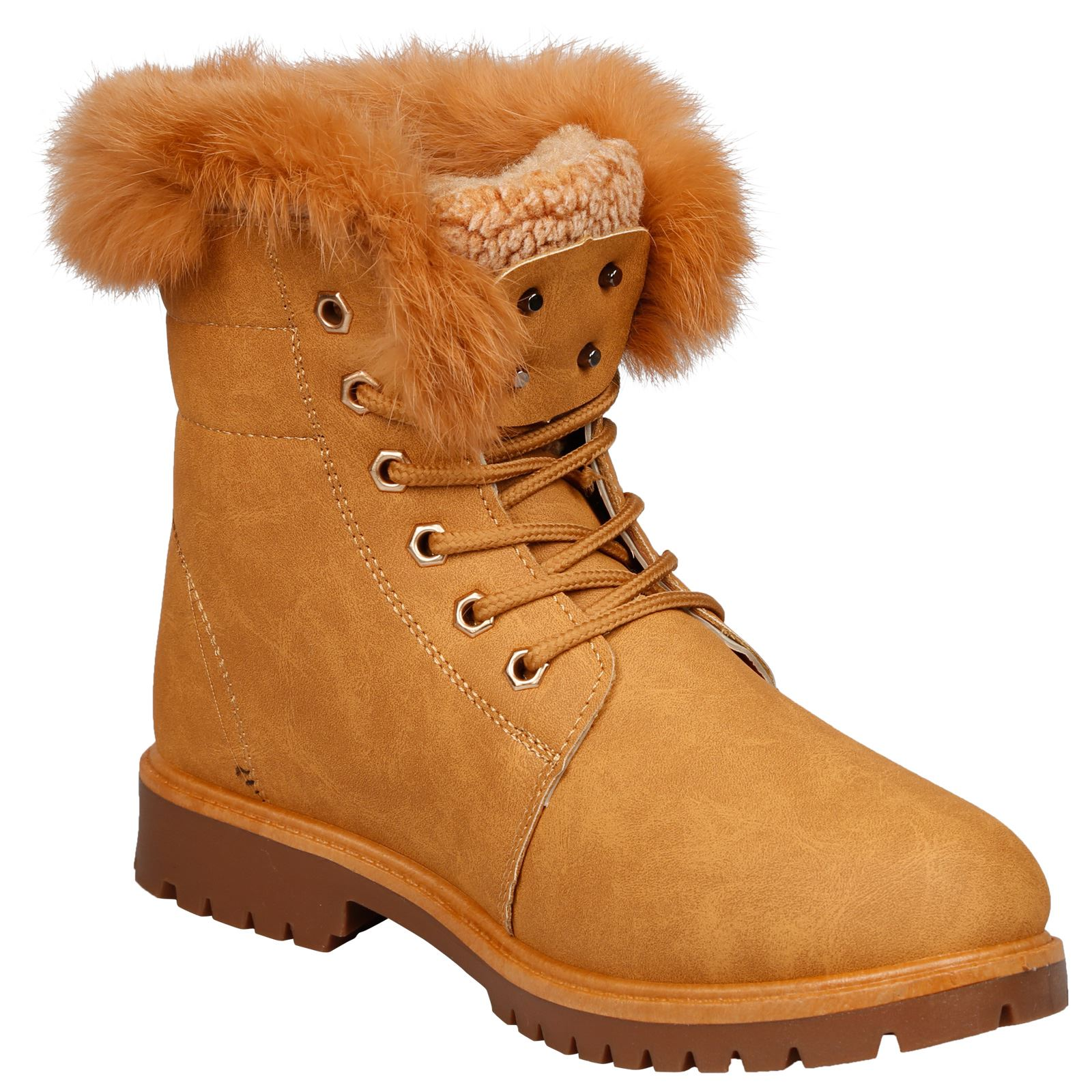 NEW-WOMEN-SHOES-LADIES-FUR-LINED-LOW-HEEL-LACE-UP-ANKLE-BOOTS-CASUAL-STYLE-SIZE thumbnail 13