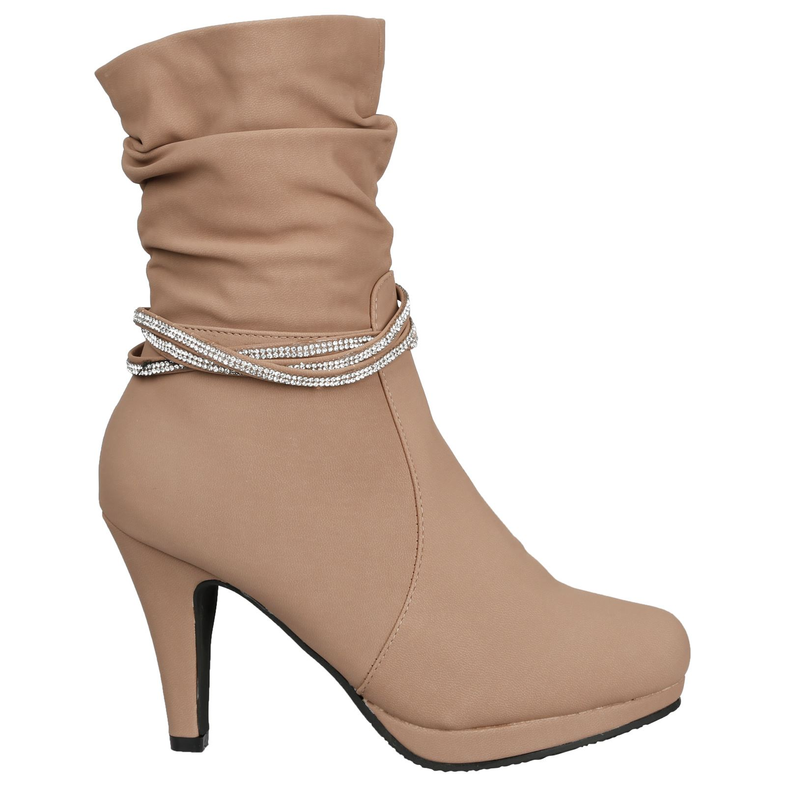 Estrella-Womens-Slim-High-Heel-Diamante-Strap-Slouch-Ankle-Boots-Casual-Style thumbnail 7