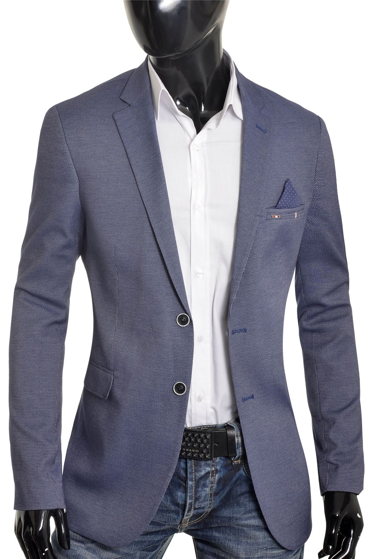 Men-039-s-Classic-Design-Blazer-Jacket-Blue-Casual-Contrast-Finish-Slim-Soft-Cotton thumbnail 3