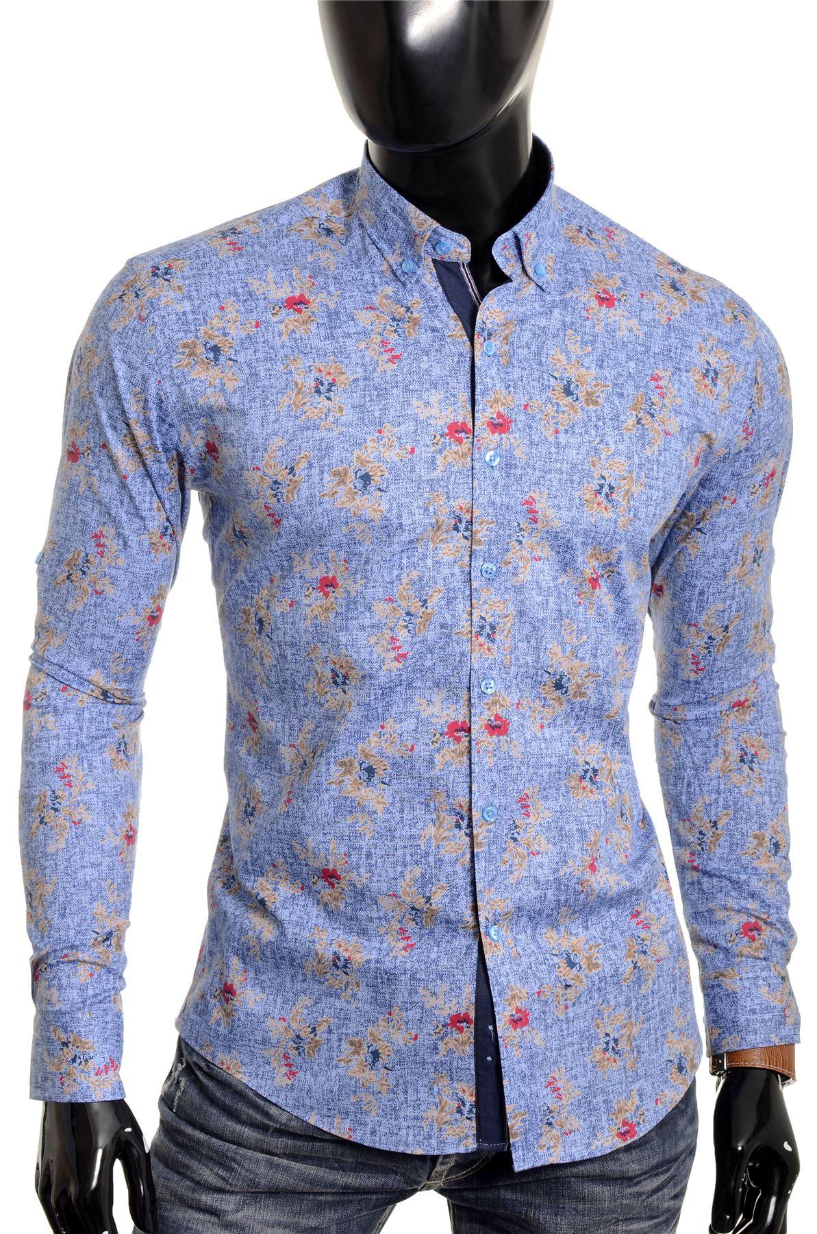 8d7fc1811c7e Cipo & Baxx Men's Casual Shirt Flower Smart Long Roll-up Sleeve ...