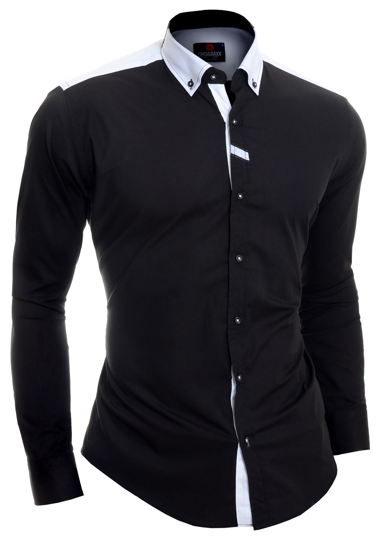 Cipo-amp-Baxx-Designer-Men-039-s-Elegant-Shirt-White-Black-Cotton-Slim-Contrast-Cuffs thumbnail 3