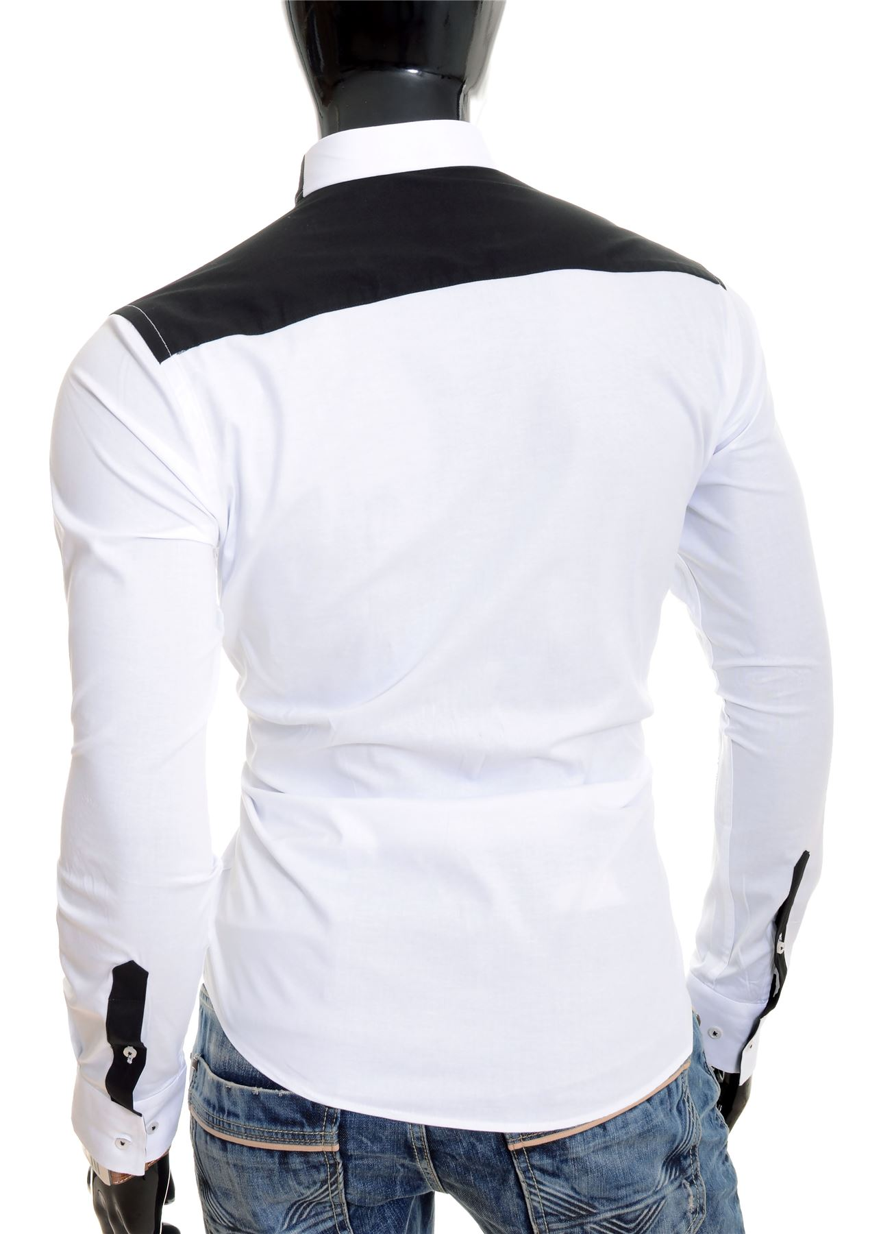 Cipo-amp-Baxx-Designer-Men-039-s-Elegant-Shirt-White-Black-Cotton-Slim-Contrast-Cuffs thumbnail 14