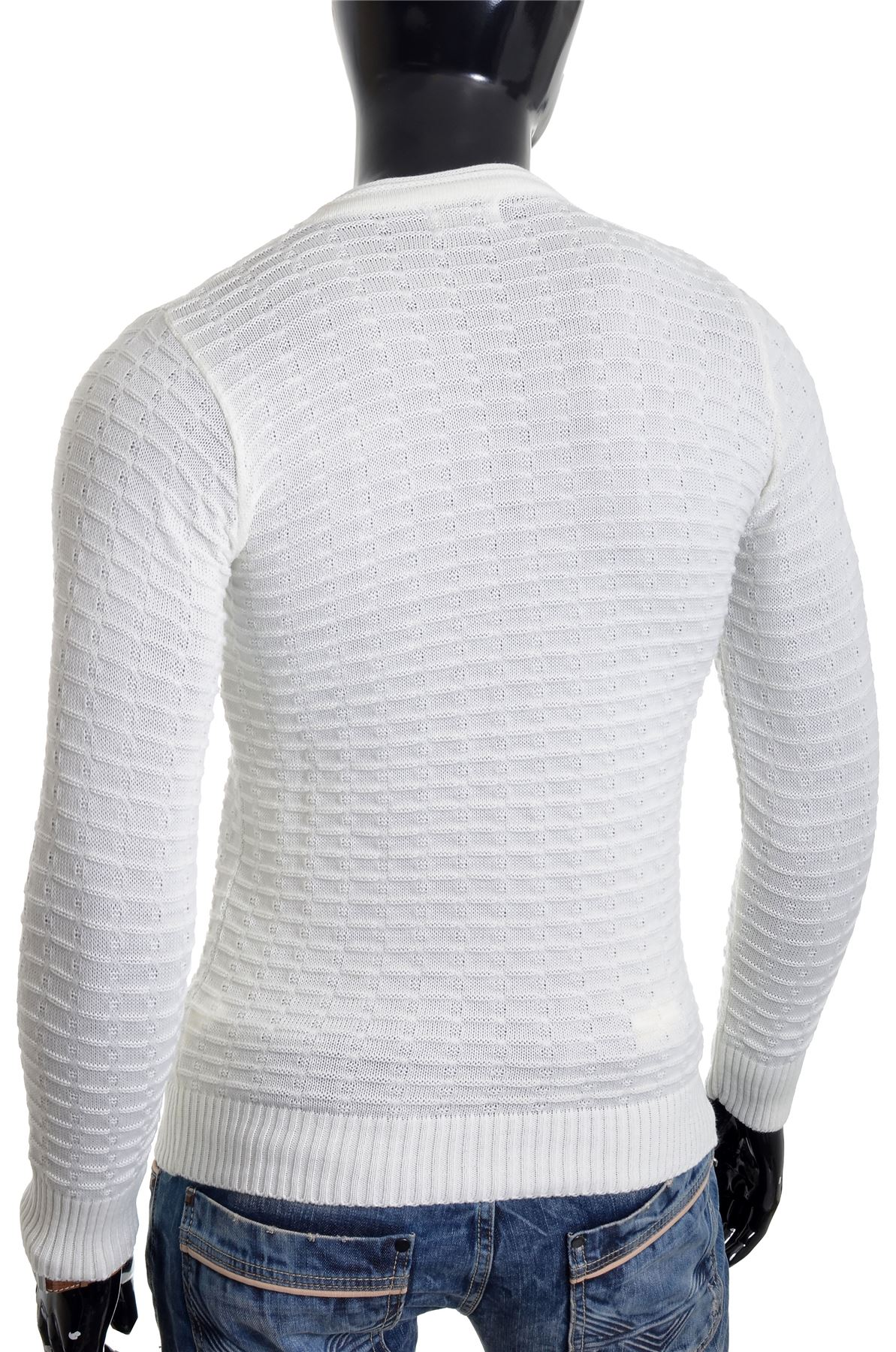 Men-039-s-Jumper-Striped-Knit-Smart-Long-Sleeve-Sweater-Crew-Neck-Top-Slim-Fitness thumbnail 16