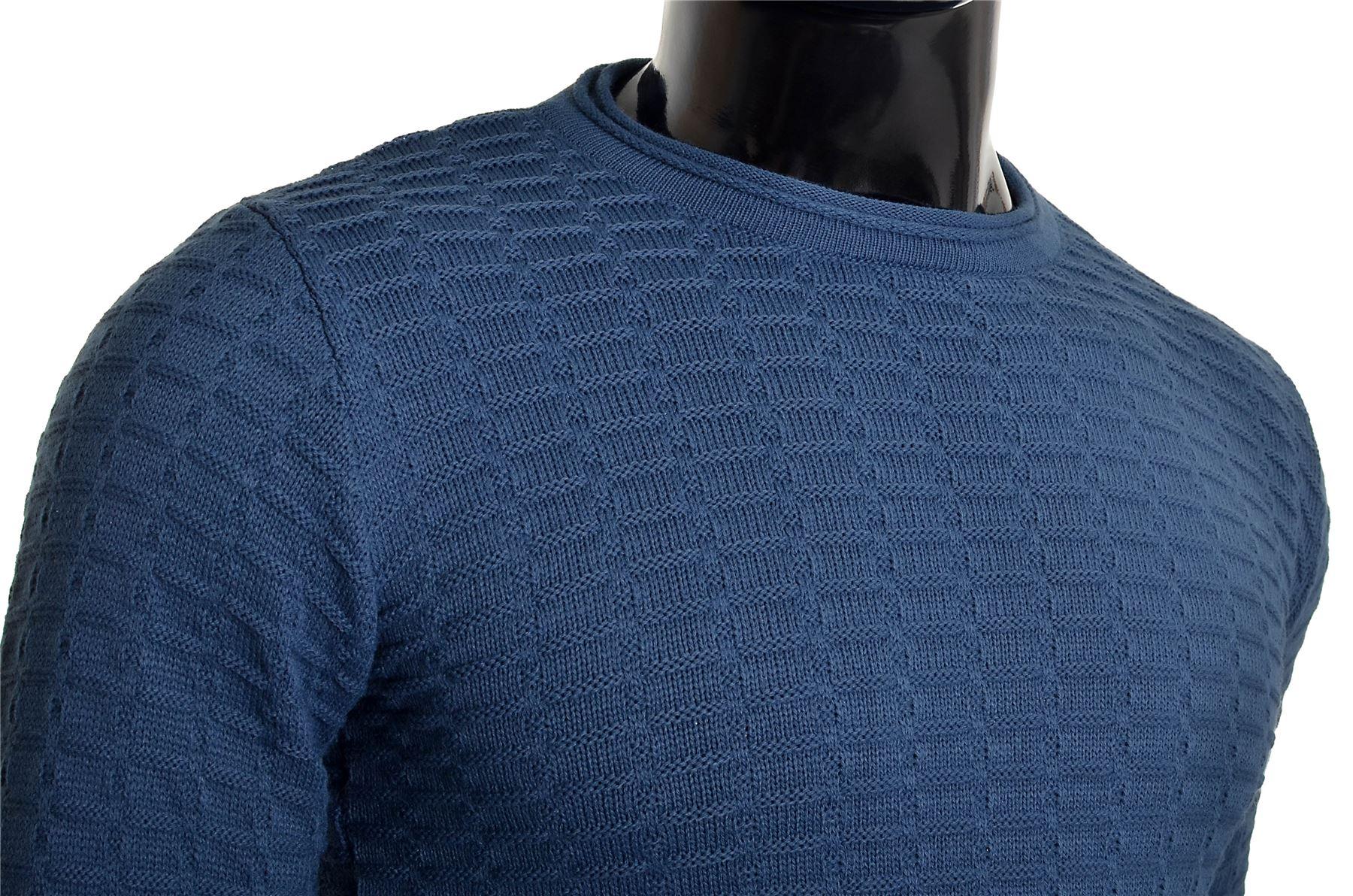 Men-039-s-Jumper-Striped-Knit-Smart-Long-Sleeve-Sweater-Crew-Neck-Top-Slim-Fitness thumbnail 20