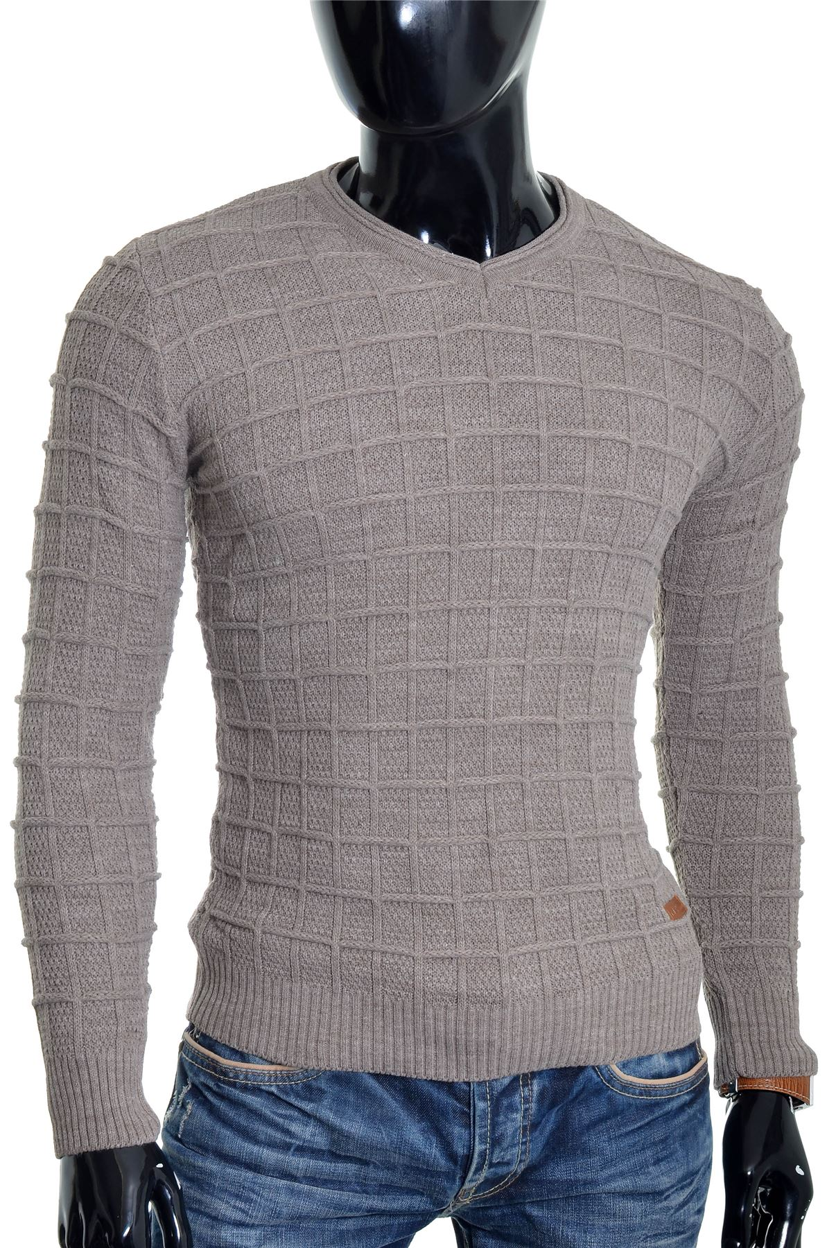 D-amp-R-Men-039-s-Wool-Jumper-Knit-Smart-Long-Sleeve-Sweater-Crew-Neck-Check-Top-Slim thumbnail 3