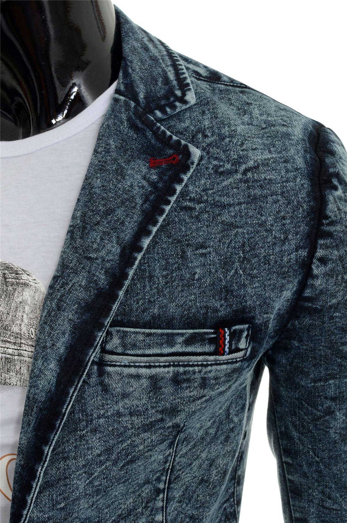Marble Denim Dark Soft Slim Blazer Men's Jacket Fit Vintage Cotton Print Blue gq0wHU7d