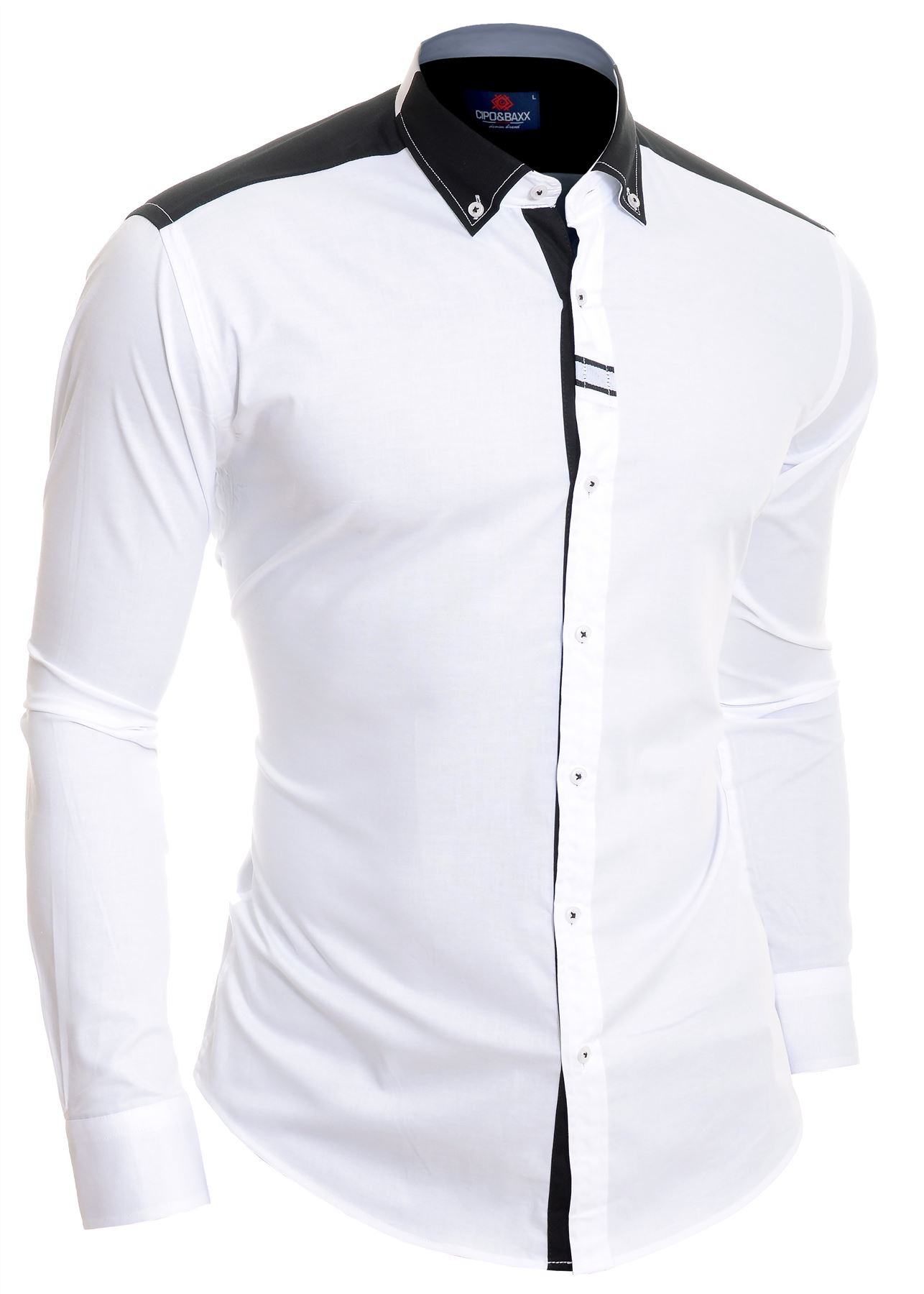 Cipo-amp-Baxx-Designer-Men-039-s-Elegant-Shirt-White-Black-Cotton-Slim-Contrast-Cuffs thumbnail 9