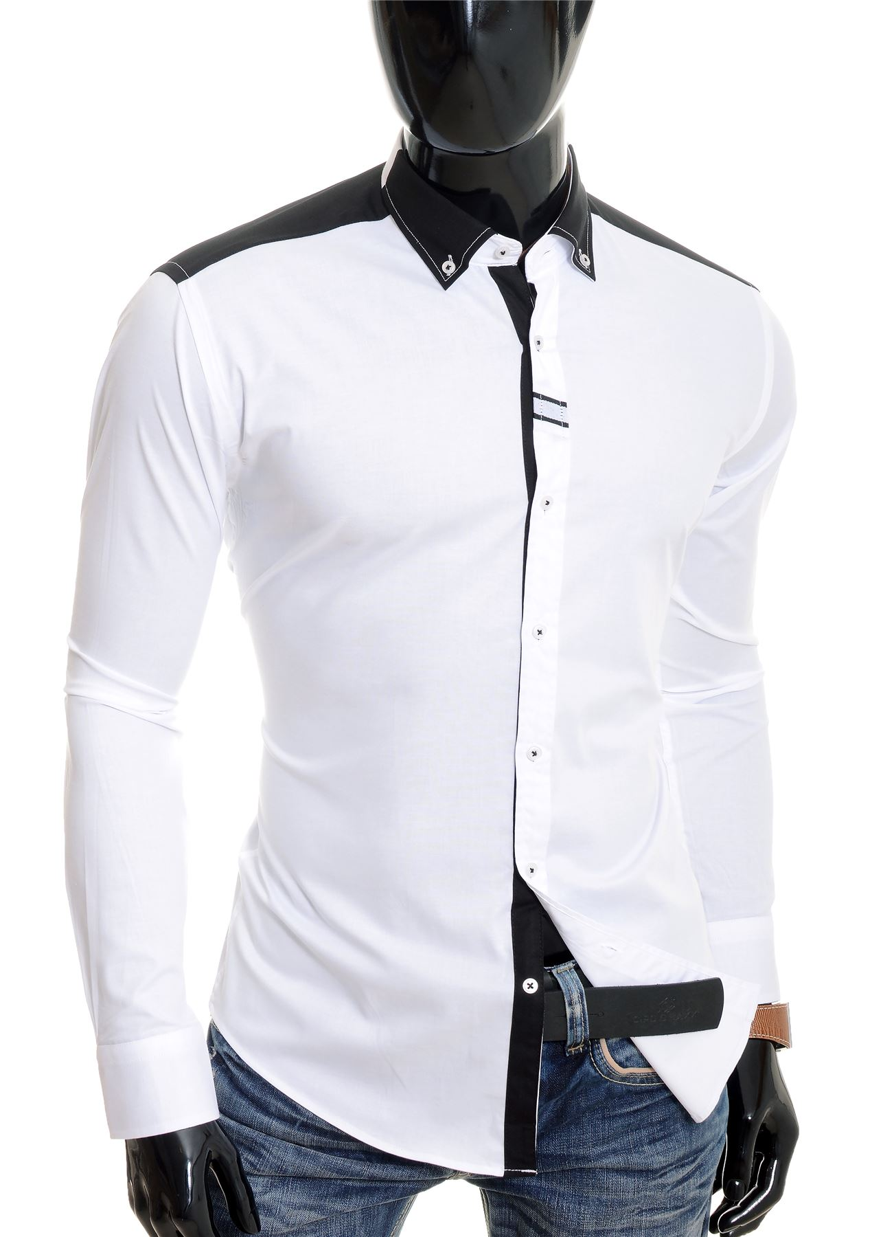 Cipo-amp-Baxx-Designer-Men-039-s-Elegant-Shirt-White-Black-Cotton-Slim-Contrast-Cuffs thumbnail 10