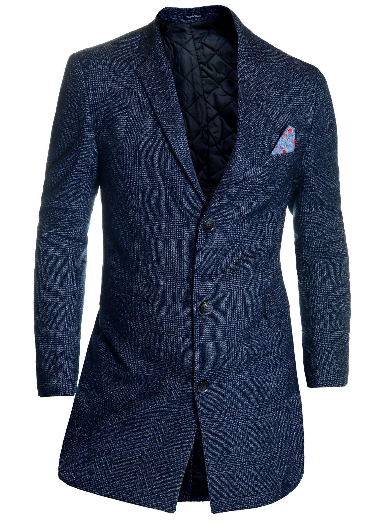 Men-039-s-Checkered-Coat-3-4-Long-Tweed-Cashmere-Wool-Trendy-Formal-Winter-Overcoat thumbnail 7