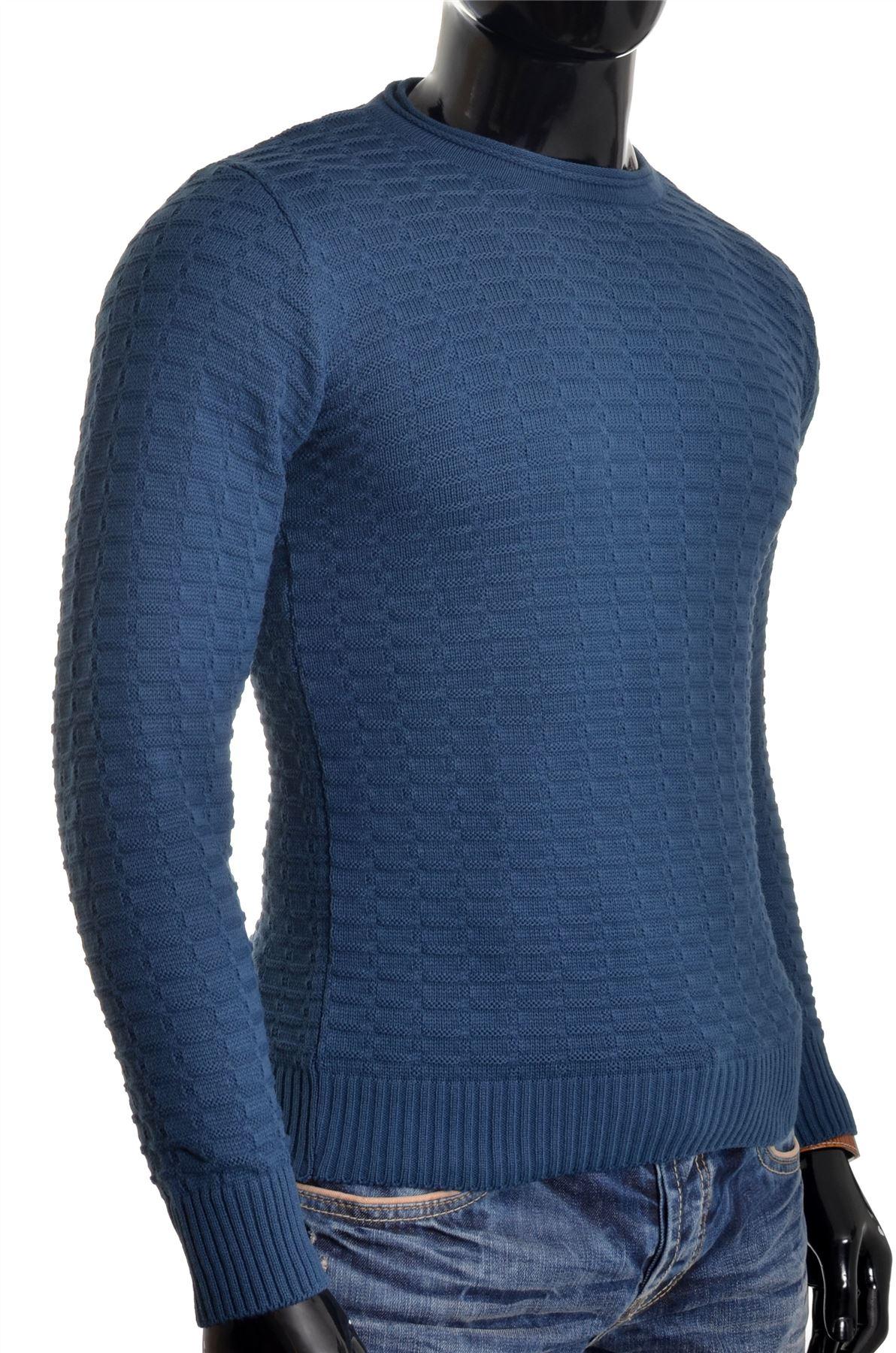 Men-039-s-Jumper-Striped-Knit-Smart-Long-Sleeve-Sweater-Crew-Neck-Top-Slim-Fitness thumbnail 19