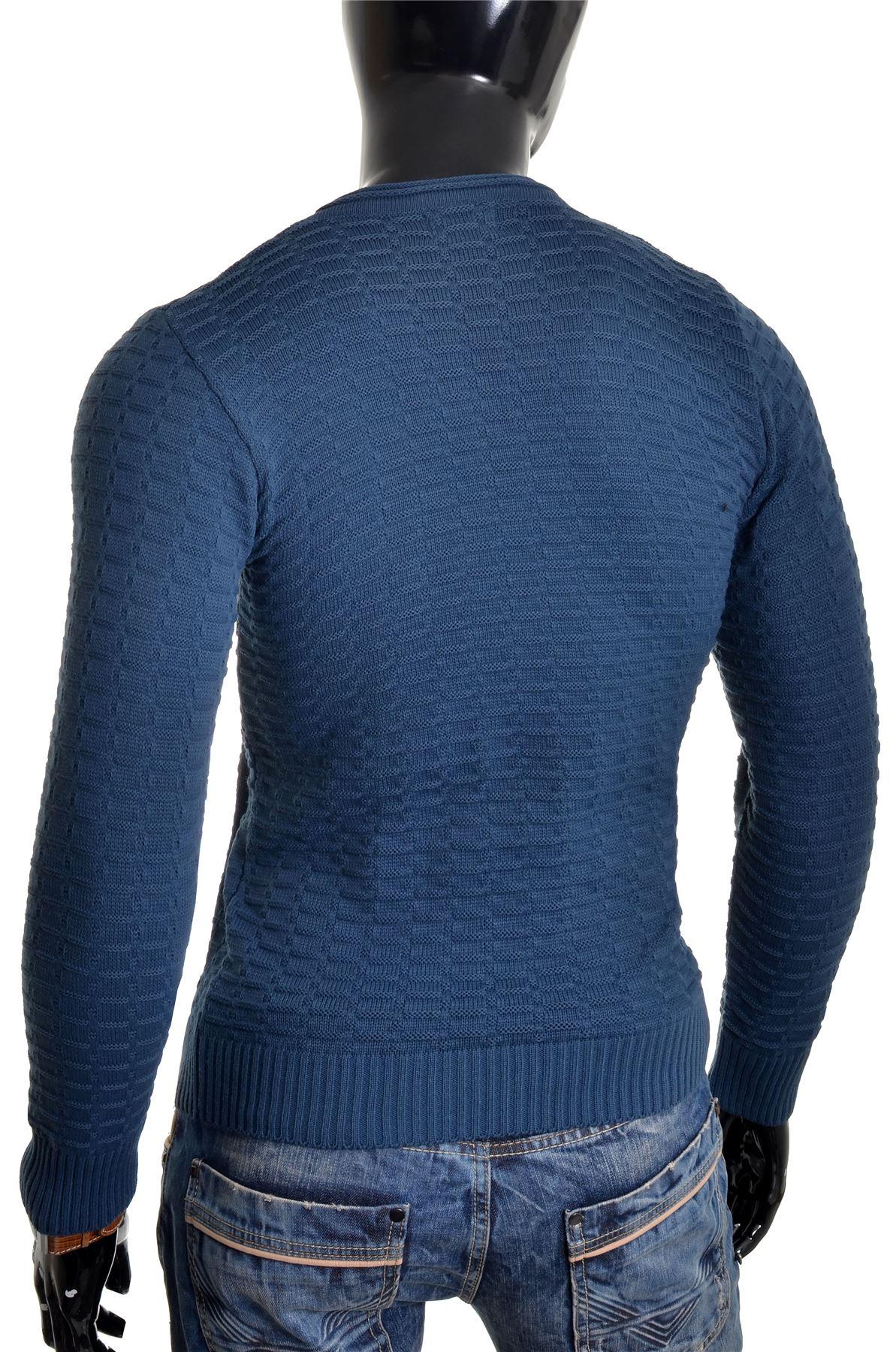 Men-039-s-Jumper-Striped-Knit-Smart-Long-Sleeve-Sweater-Crew-Neck-Top-Slim-Fitness thumbnail 21