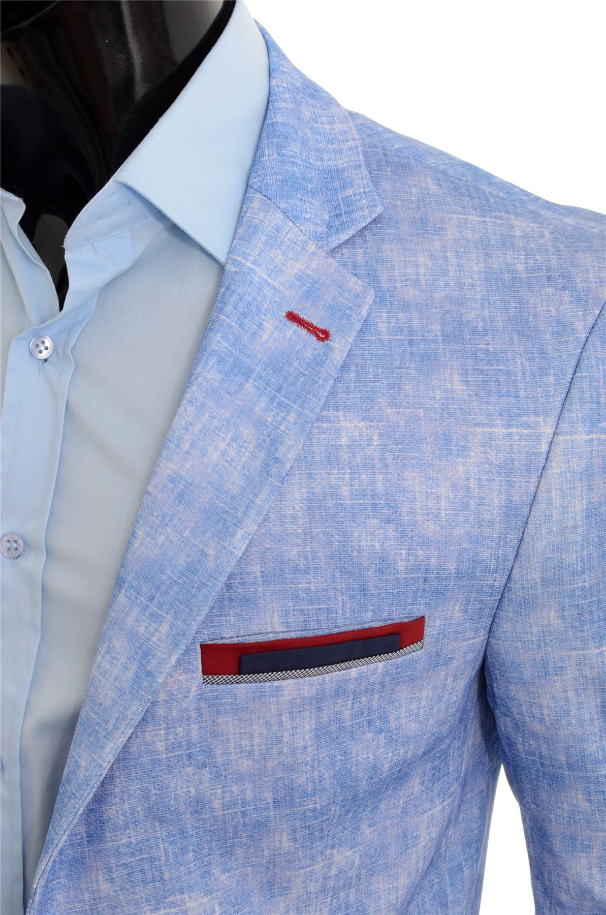 Men-039-s-Light-Blue-Blazer-Jacket-Casual-Smart-Slim-Fit-Summer-Red-Finish-Cotton thumbnail 5