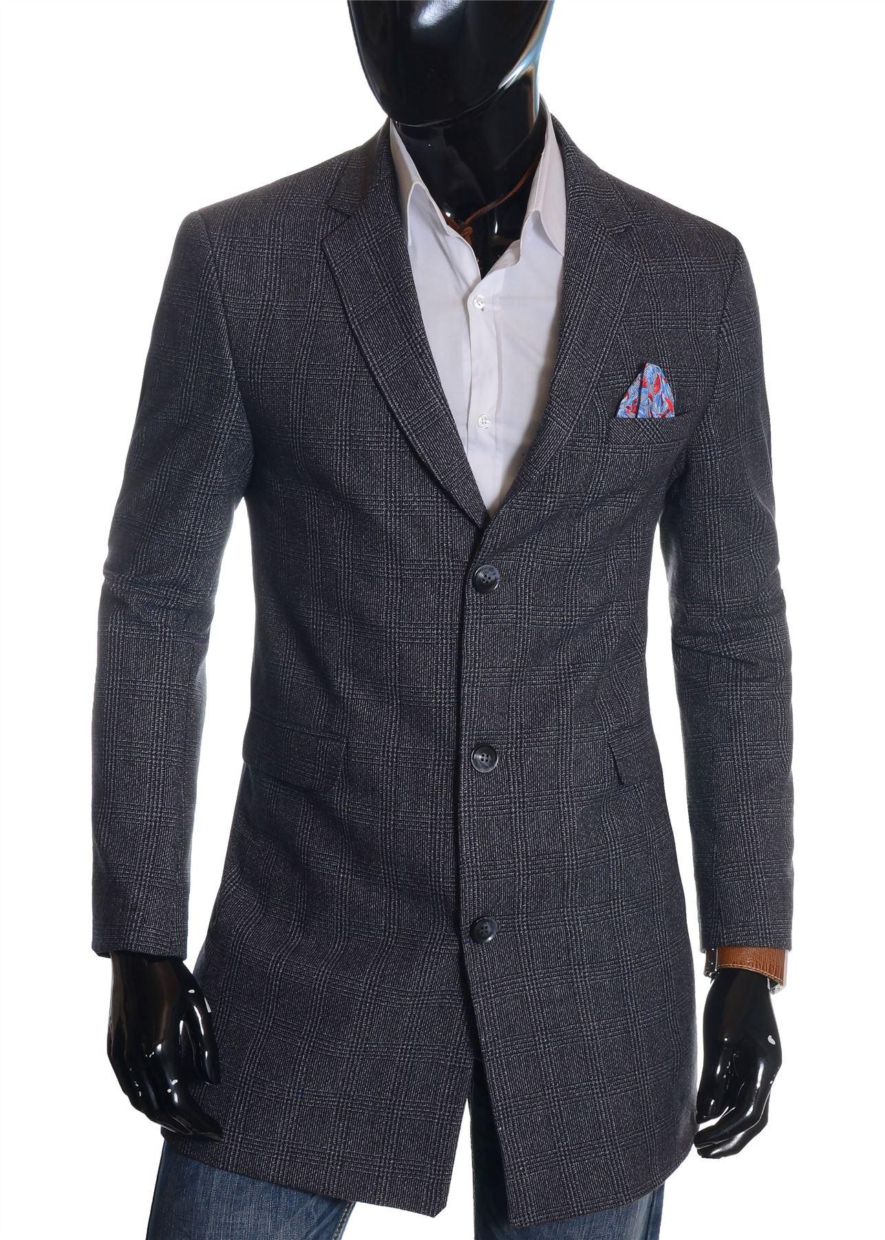 Men-039-s-Checkered-Coat-3-4-Long-Tweed-Cashmere-Wool-Trendy-Formal-Winter-Overcoat thumbnail 25
