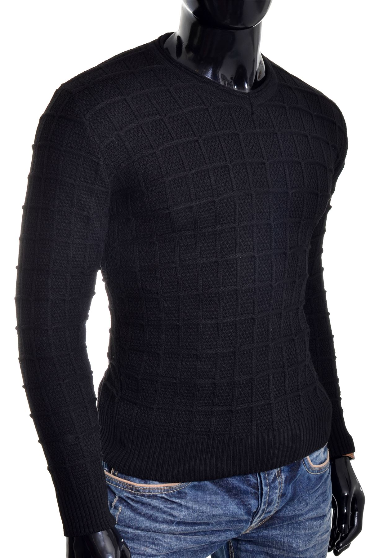 D-amp-R-Men-039-s-Wool-Jumper-Knit-Smart-Long-Sleeve-Sweater-Crew-Neck-Check-Top-Slim thumbnail 9