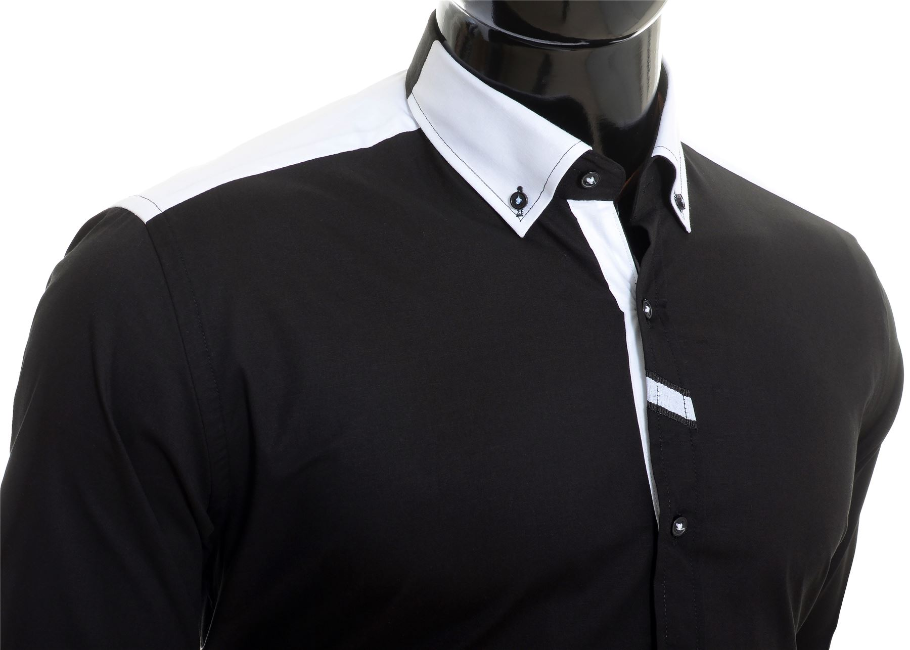 Cipo-amp-Baxx-Designer-Men-039-s-Elegant-Shirt-White-Black-Cotton-Slim-Contrast-Cuffs thumbnail 5