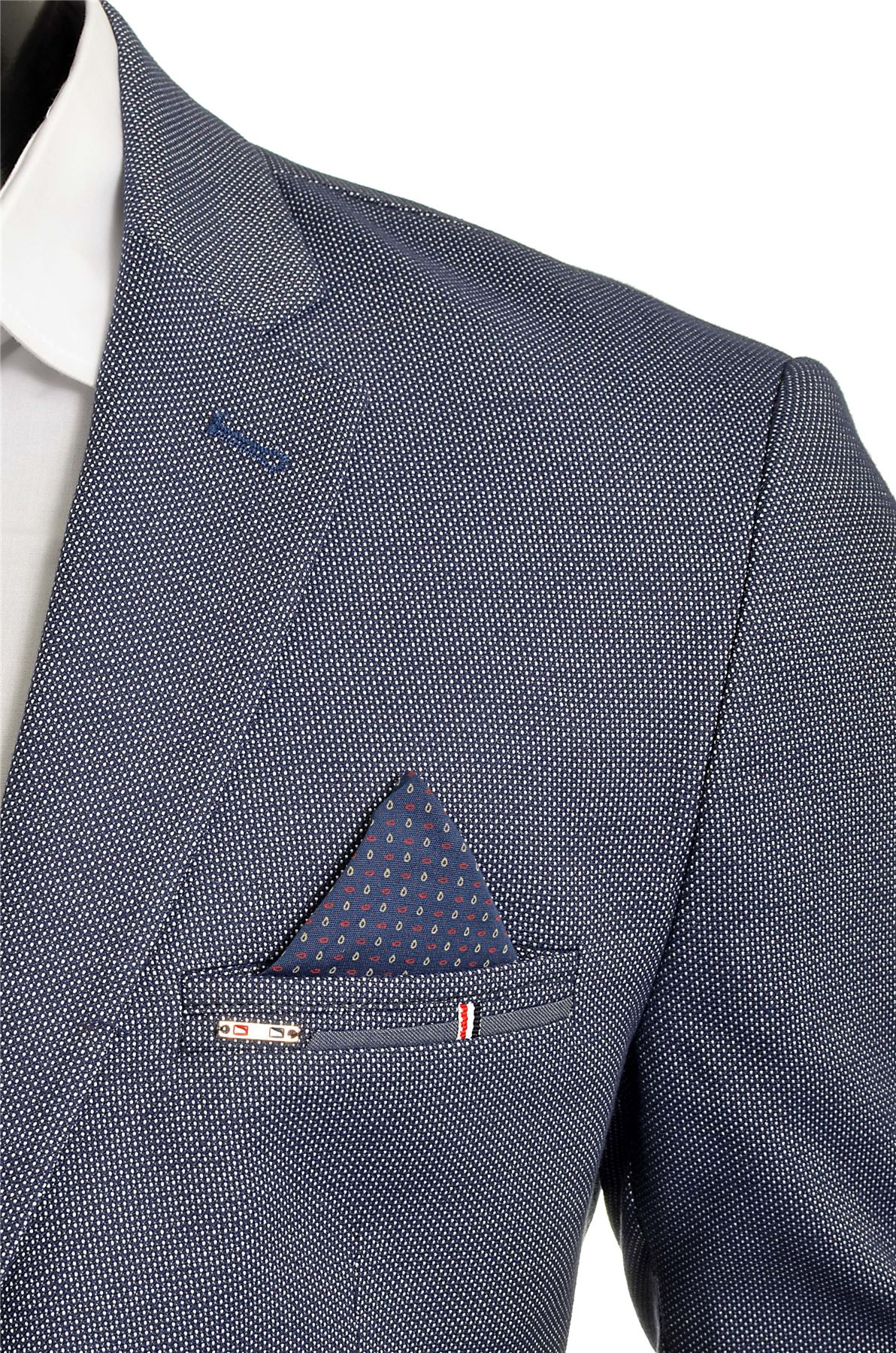 Men-039-s-Classic-Design-Blazer-Jacket-Blue-Casual-Contrast-Finish-Slim-Soft-Cotton thumbnail 4